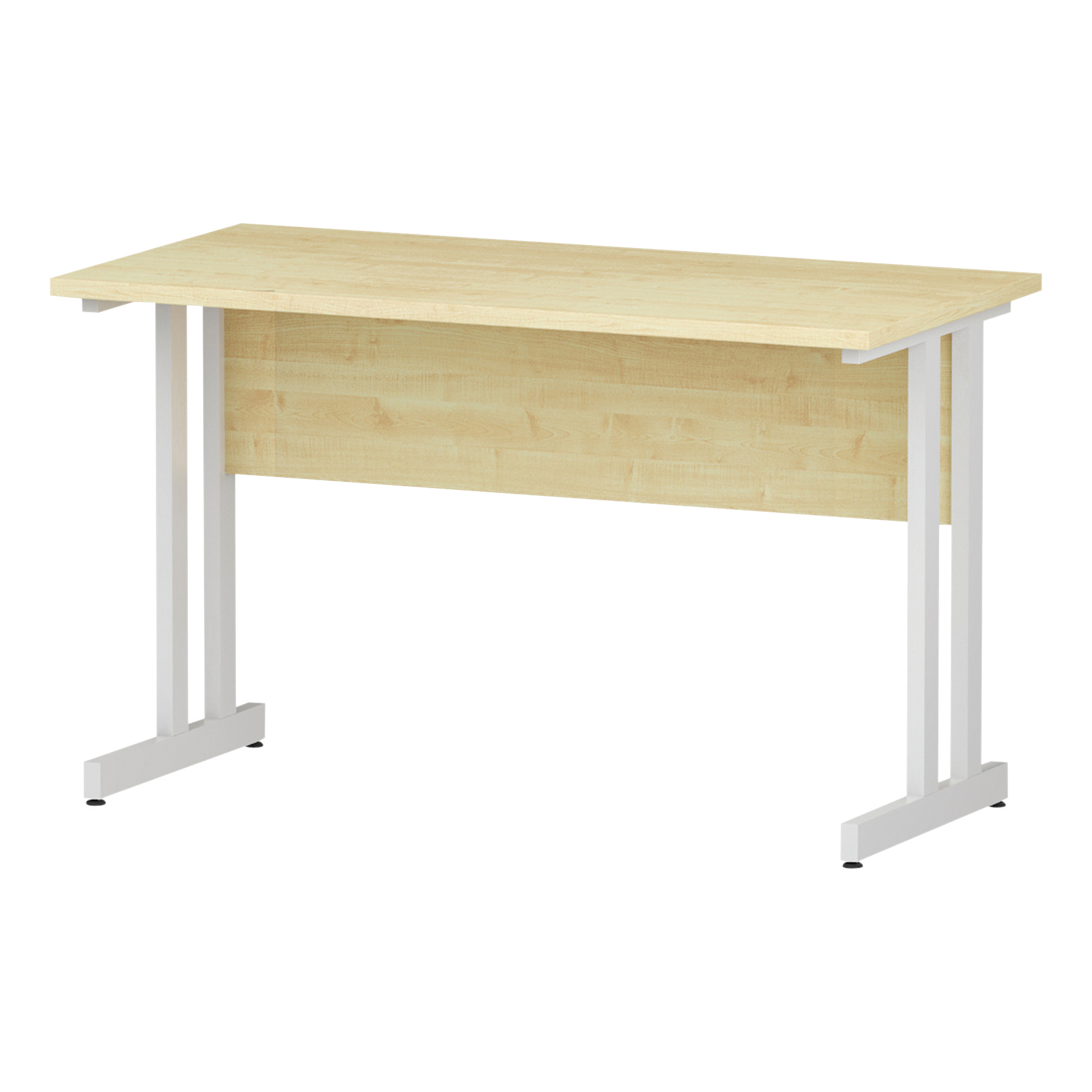 Trexus Rectangular Slim Desk White Cantilever Leg 1200x600mm Maple Ref I002427