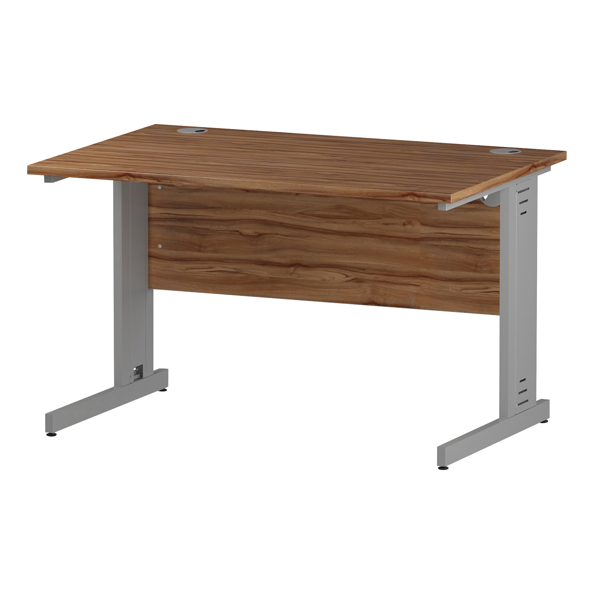 Trexus Rectangular Desk Silver Cable Managed Leg 1200x800mm Walnut Ref I001990