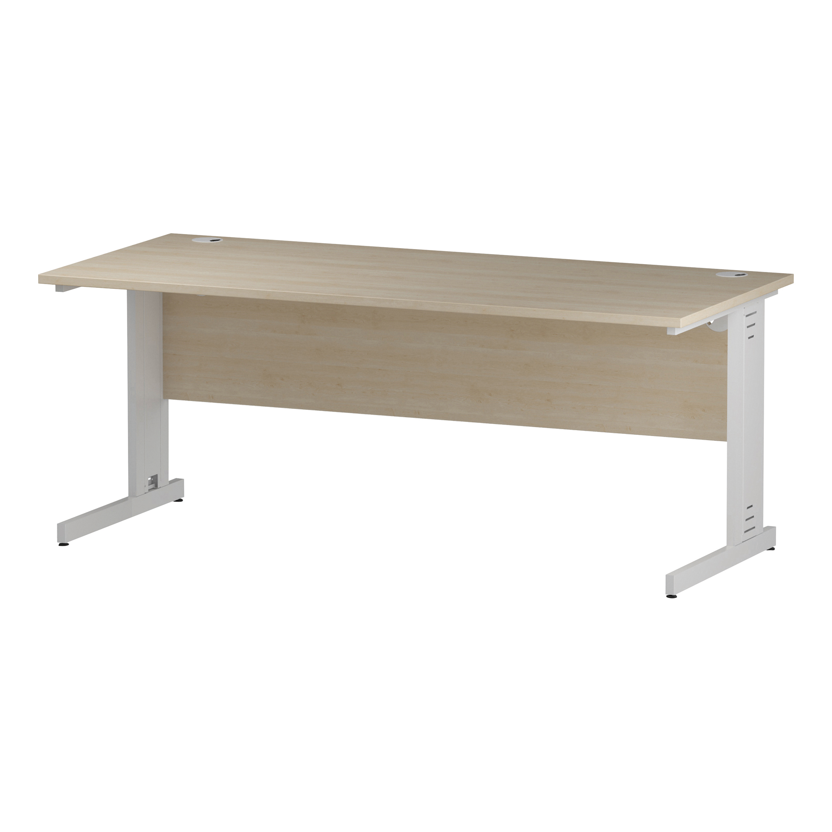 Trexus Rectangular Desk White Cable Managed Leg 1800x800mm Maple Ref I002500
