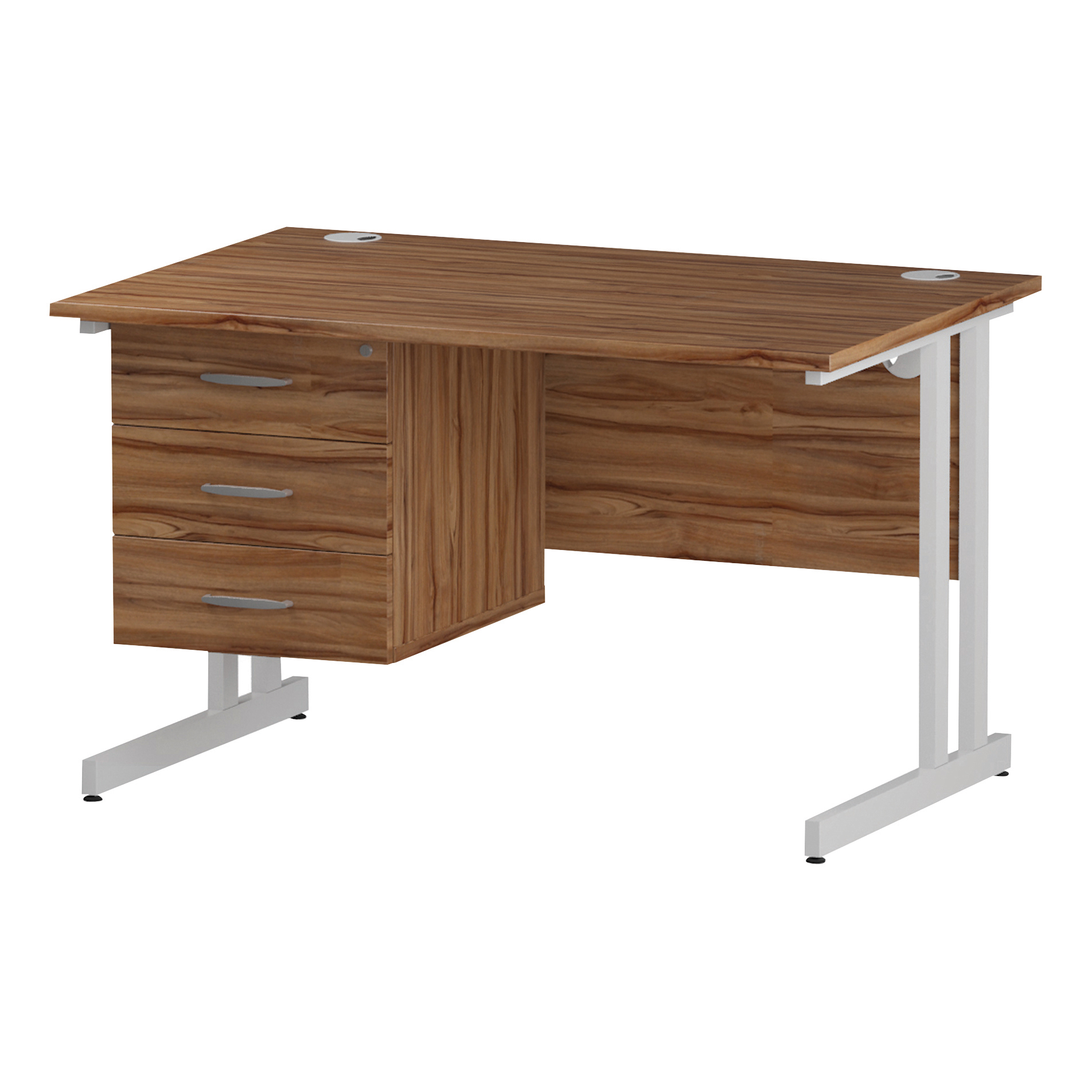 Trexus Rectangular Desk White Cantilever Leg 1200x800mm Fixed Pedestal 3 Drawers Walnut Ref I001931