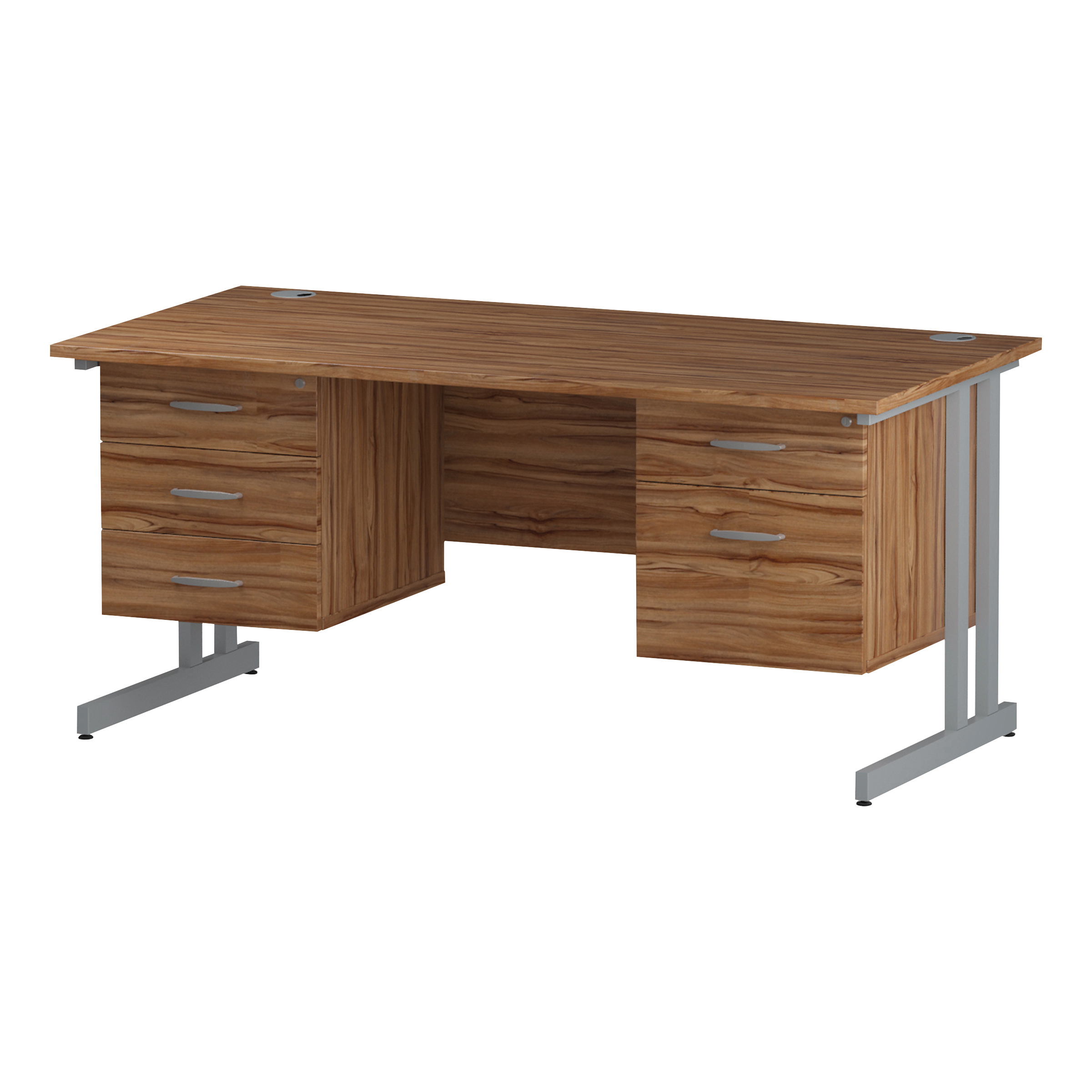Trexus Rectangular Desk Silver Cantilever Leg 1600x800mm Double Fixed Ped 2&3 Drawers Walnut Ref I001953