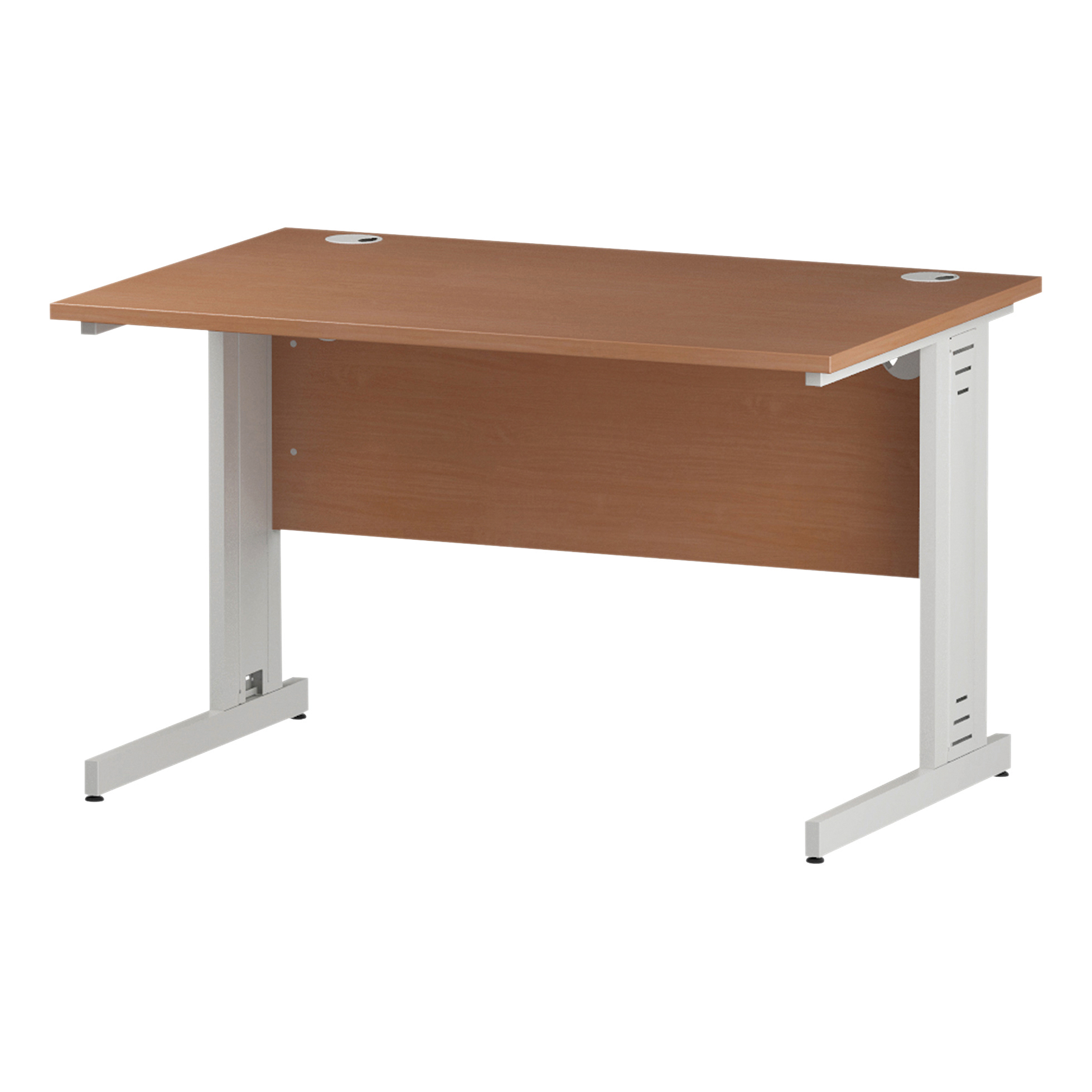 Trexus Rectangular Desk White Cable Managed Leg 1200x800mm Beech Ref I001754