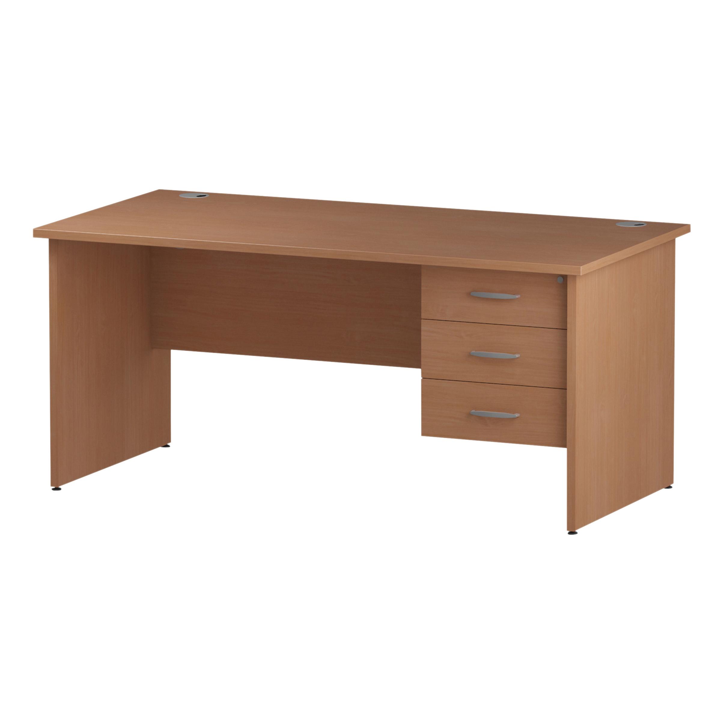 Trexus Rectangular Desk Panel End Leg 1600x800mm Fixed Pedestal 3 Drawers Beech Ref I001739