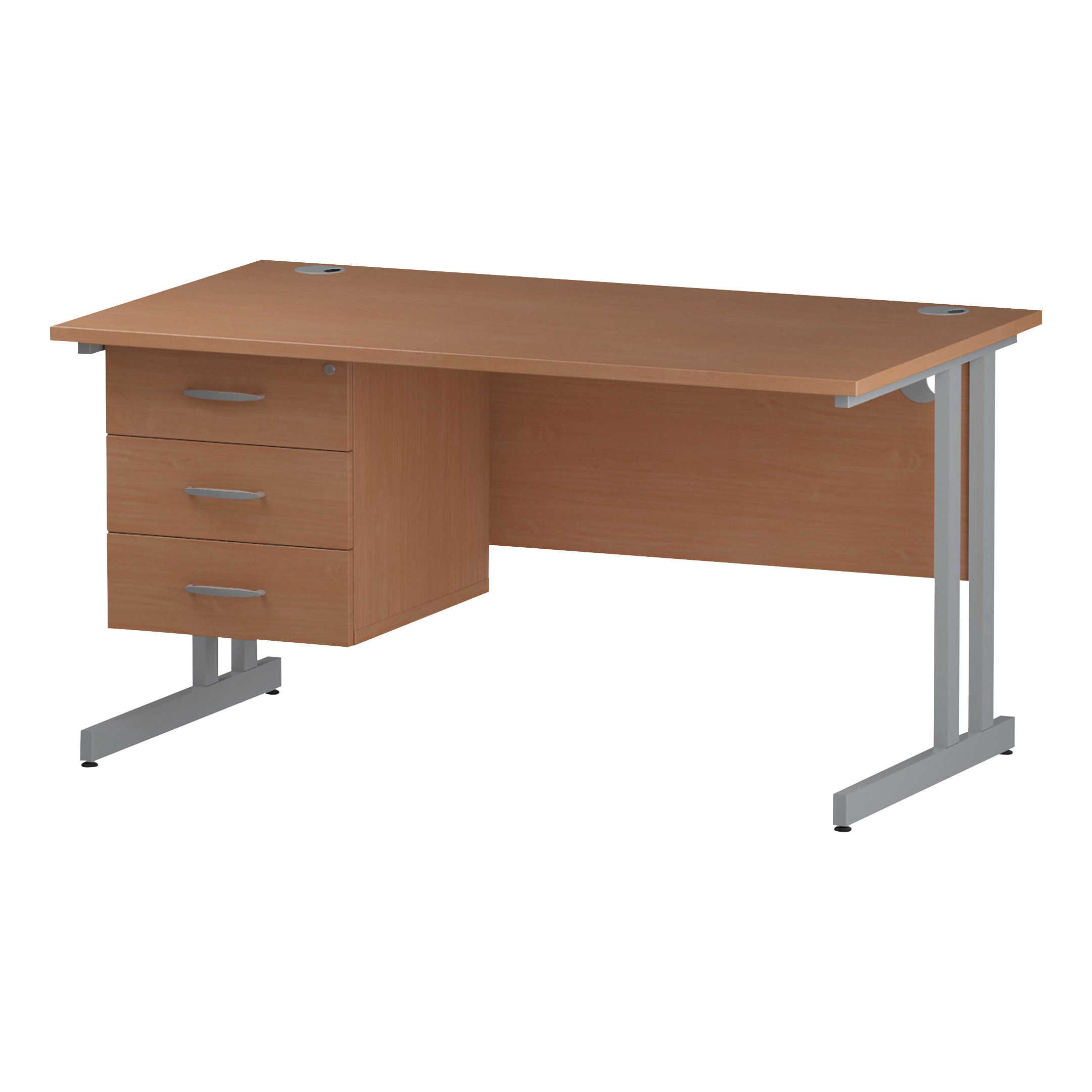 Trexus Rectangular Desk Silver Cantilever Leg 1400x800mm Fixed Pedestal 3 Drawers Beech Ref I001697