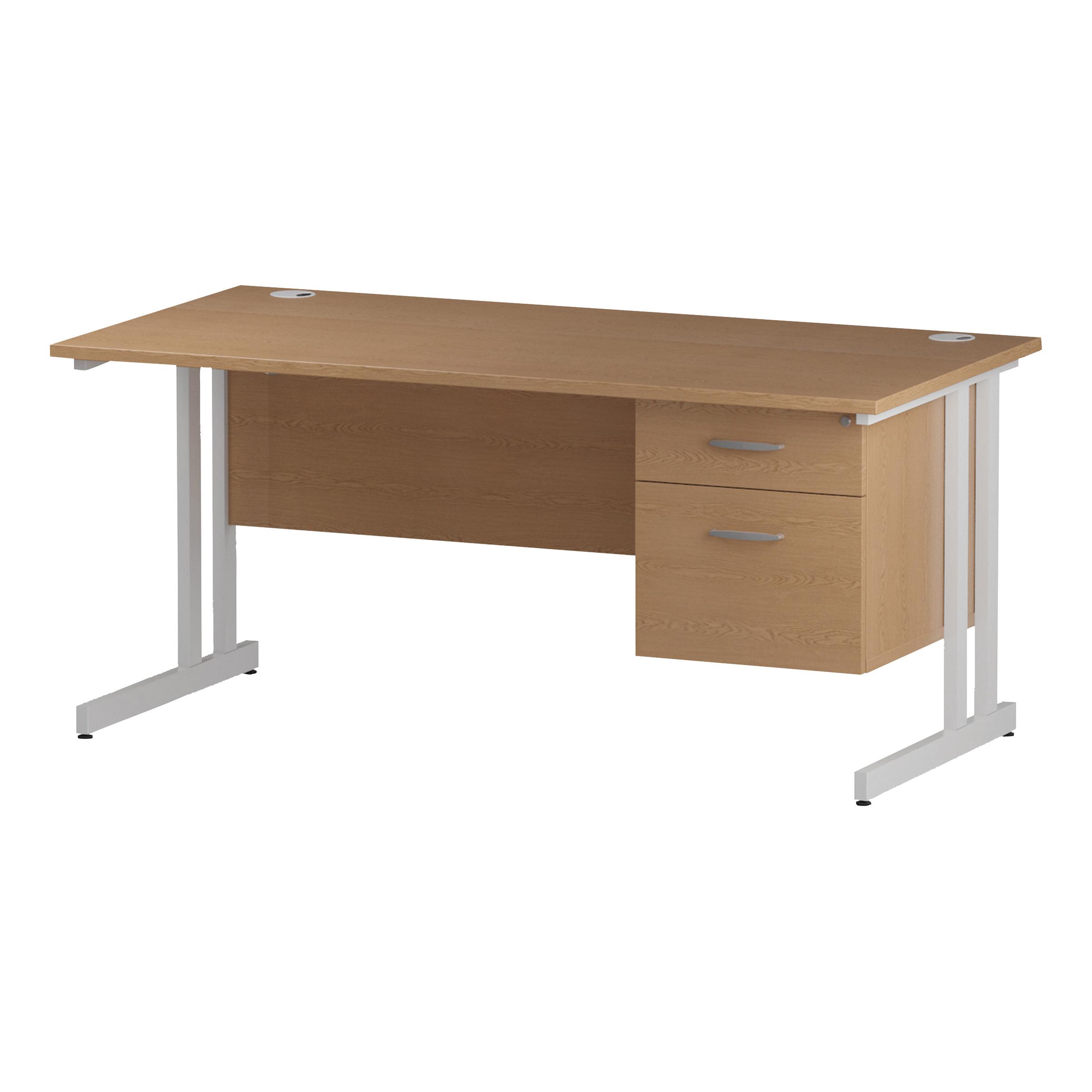 Trexus Rectangular Desk White Cantilever Leg 1400x800mm Fixed Pedestal 2 Drawers Oak Ref I002662