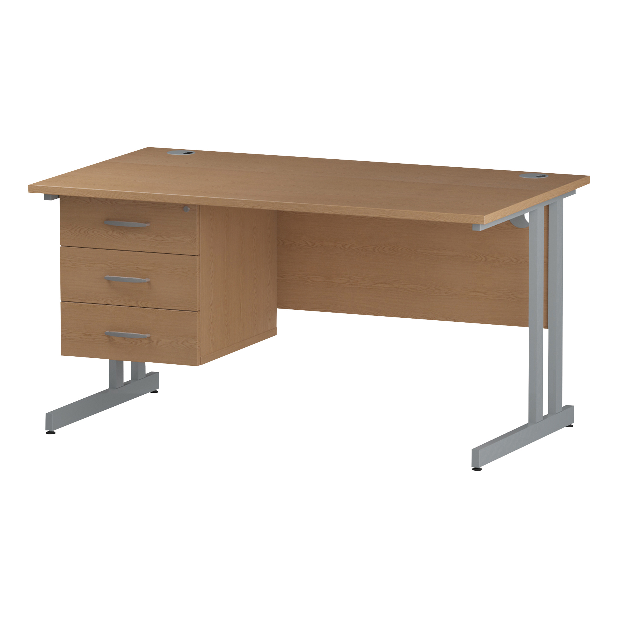 Trexus Rectangular Desk Silver Cantilever Leg 1400x800mm Fixed Pedestal 3 Drawers Oak Ref I002666