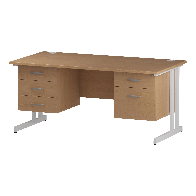 Trexus Rectangular Desk White Cantilever Leg 1600x800mm Double Fixed Ped 2&3 Drawers Oak Ref I002695