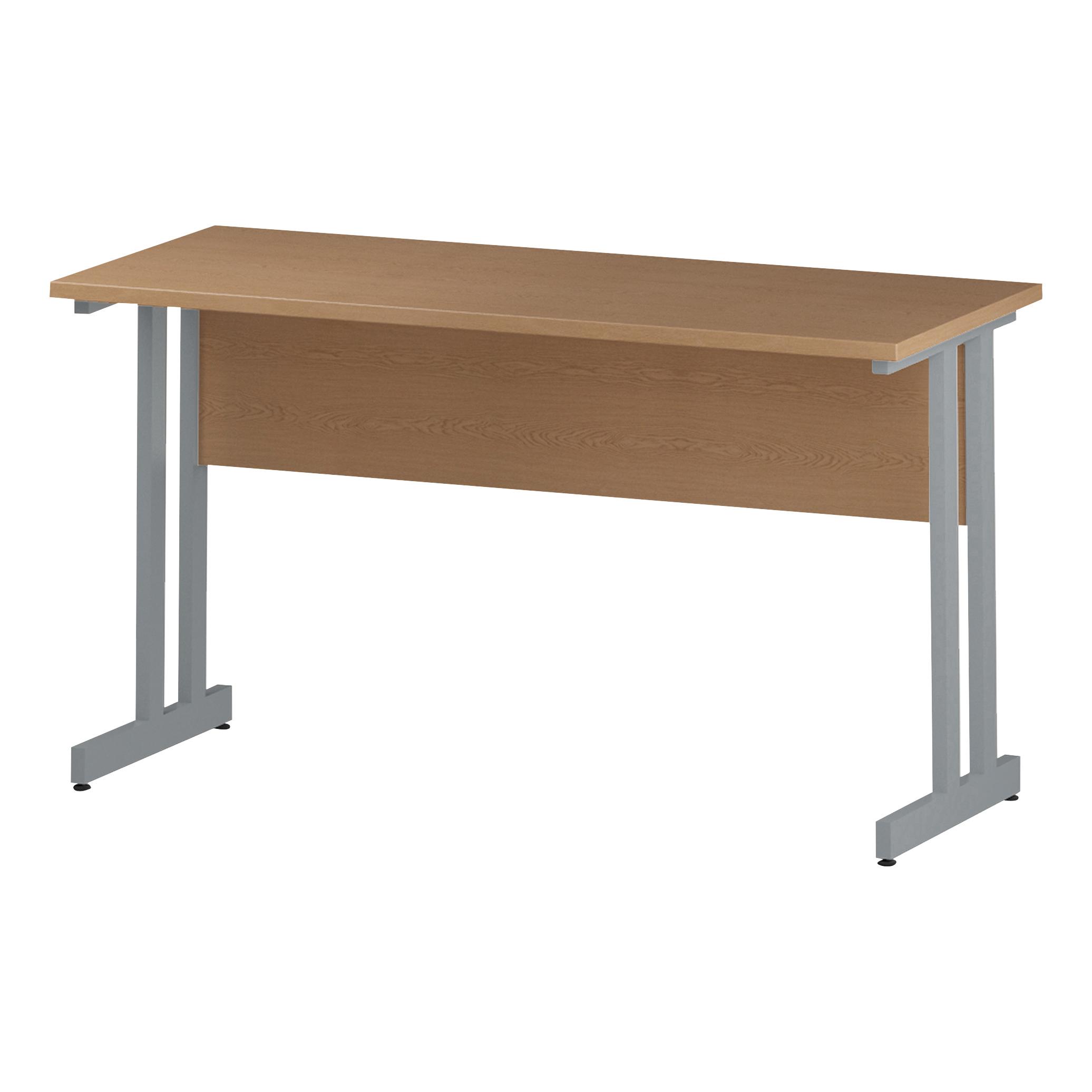 Trexus Rectangular Slim Desk Silver Cantilever Leg 1400x600mm Oak Ref I002649
