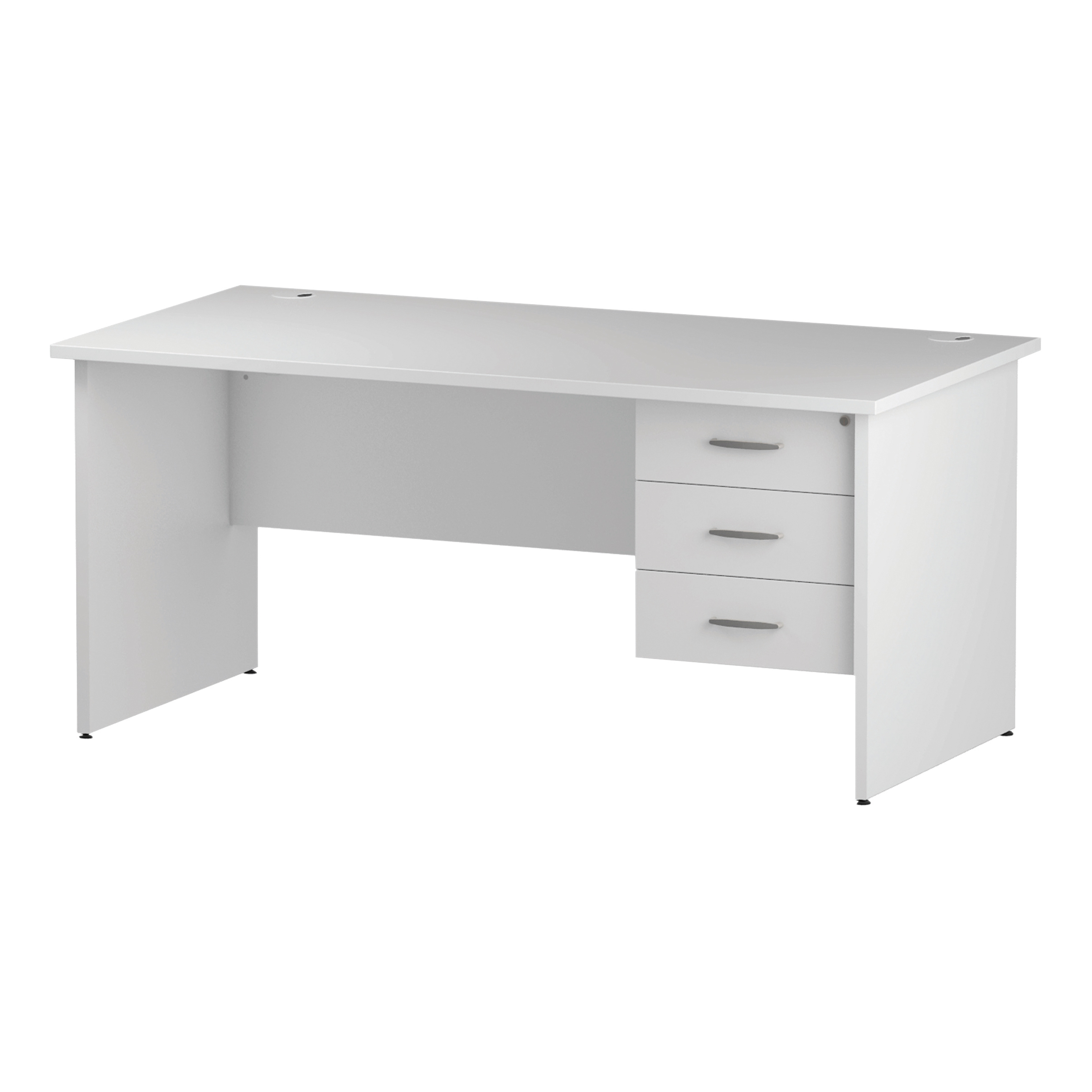 Trexus Rectangular Desk Panel End Leg 1600x800mm Fixed Pedestal 3 Drawers White Ref I002256