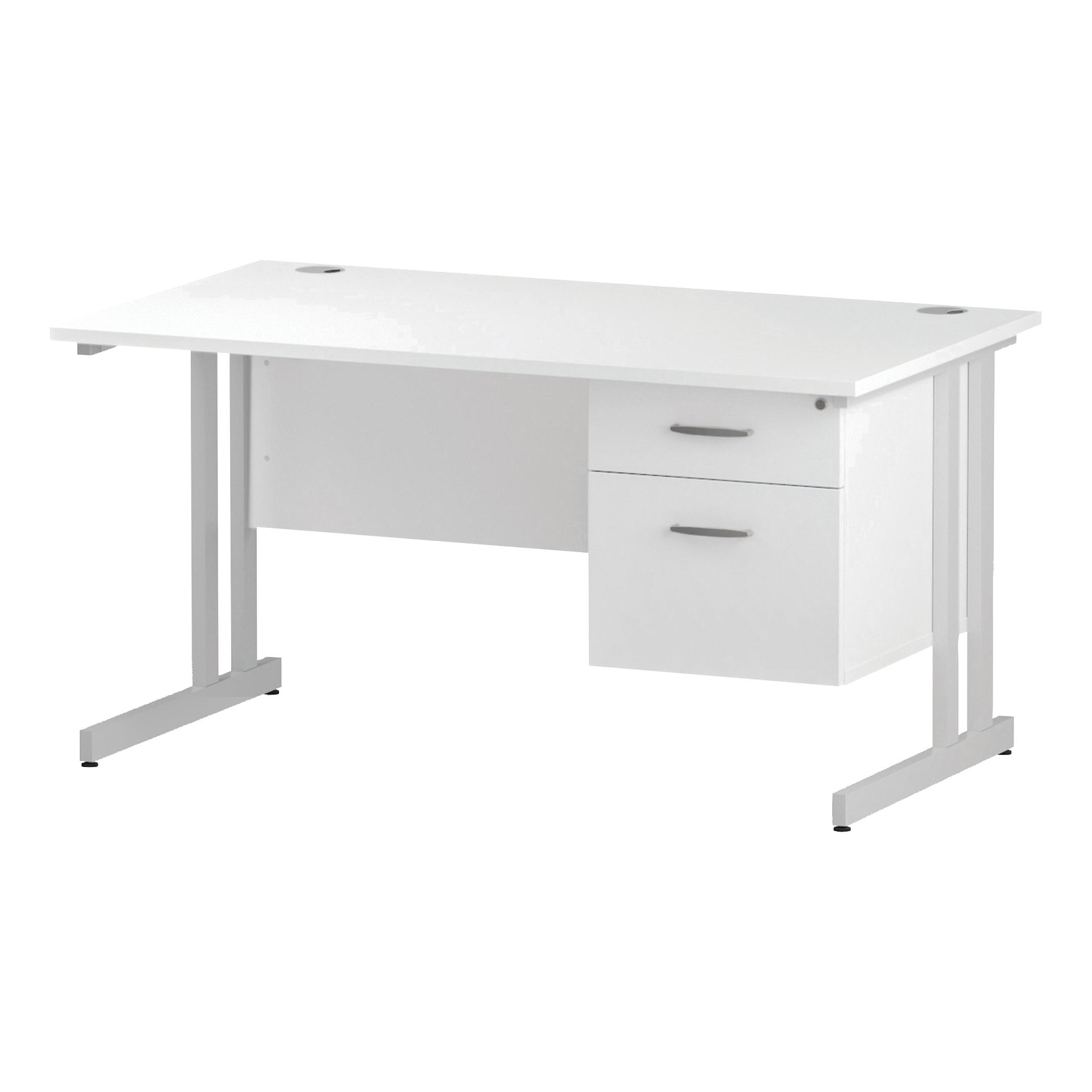 Trexus Rectangular Desk White Cantilever Leg 1400x800mm Fixed Pedestal 2 Drawers White Ref I002210