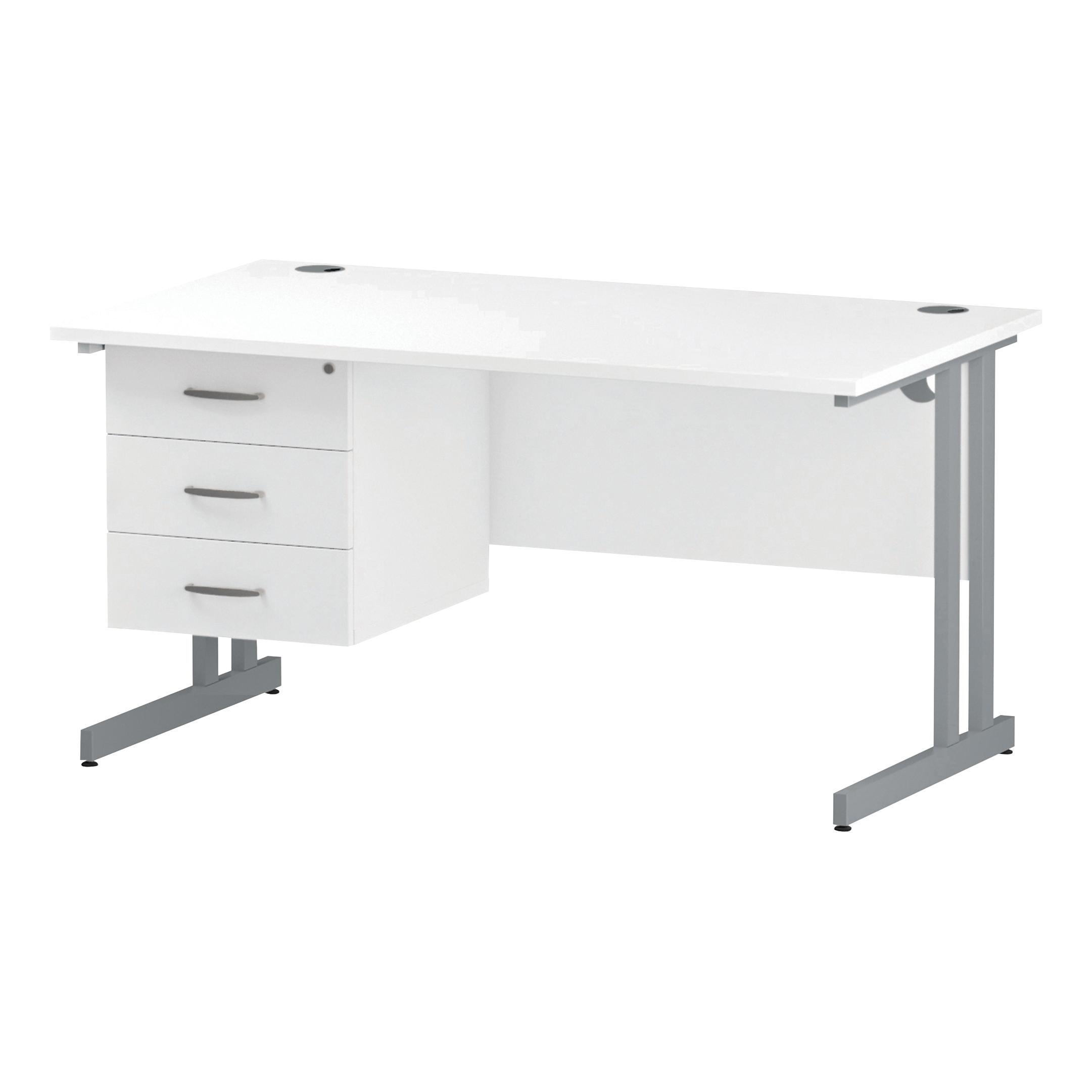 Trexus Rectangular Desk Silver Cantilever Leg 1400x800mm Fixed Pedestal 3 Drawers White Ref I002214