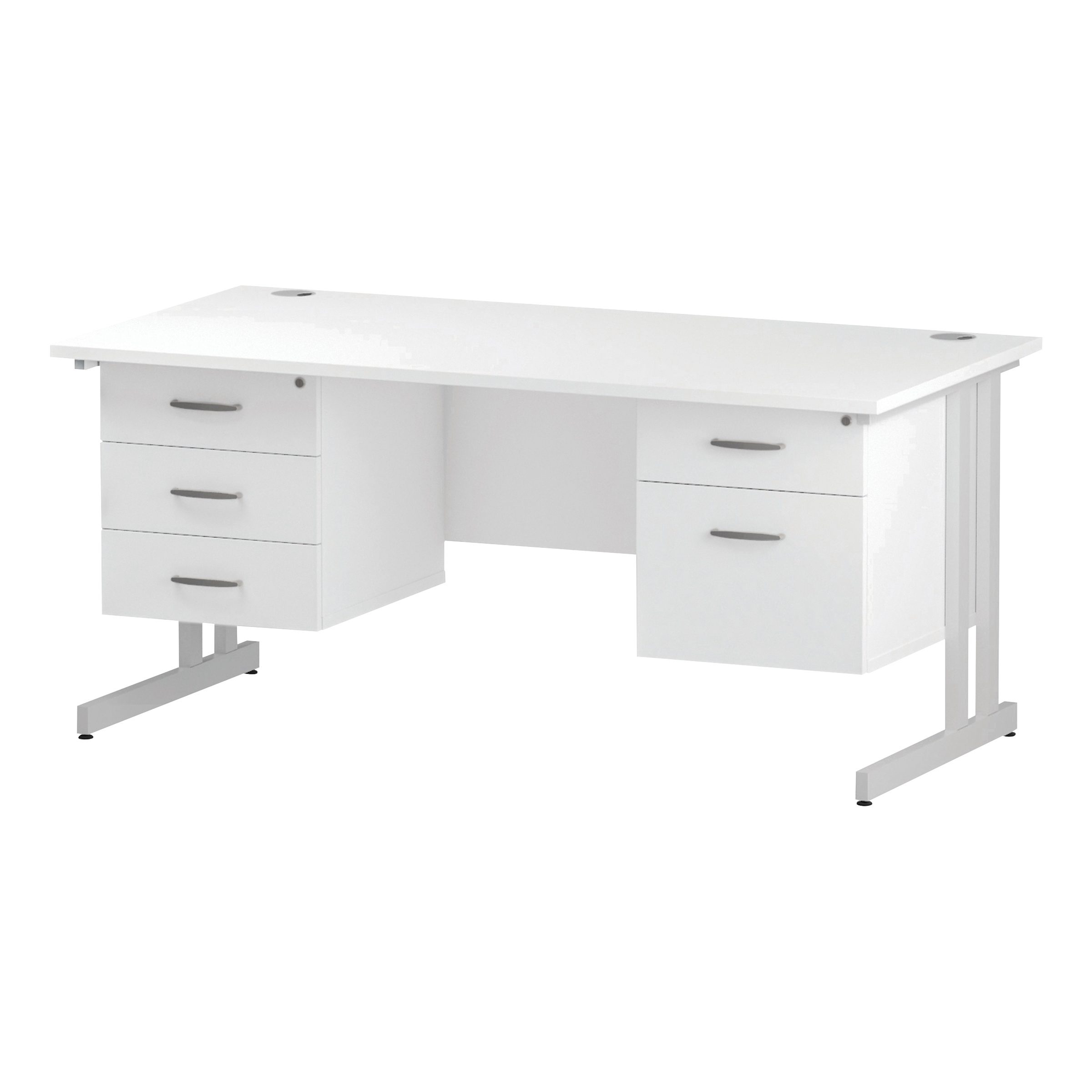 Trexus Rectangular Desk White Cantilever Leg 1600x800mm Double Fixed Ped 2&3 Drawers White Ref I002243