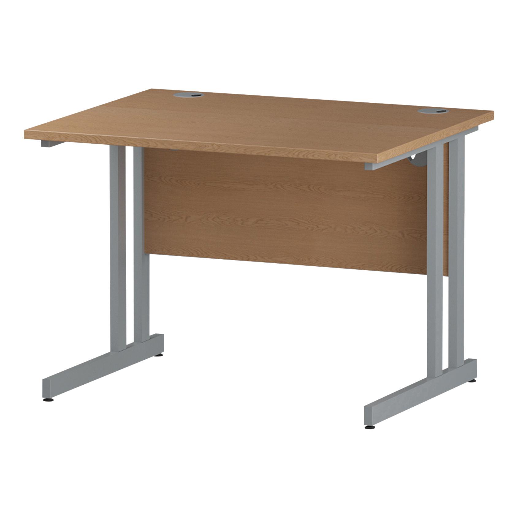 Trexus Rectangular Desk Silver Cantilever Leg 1000x800mm Oak Ref I000805
