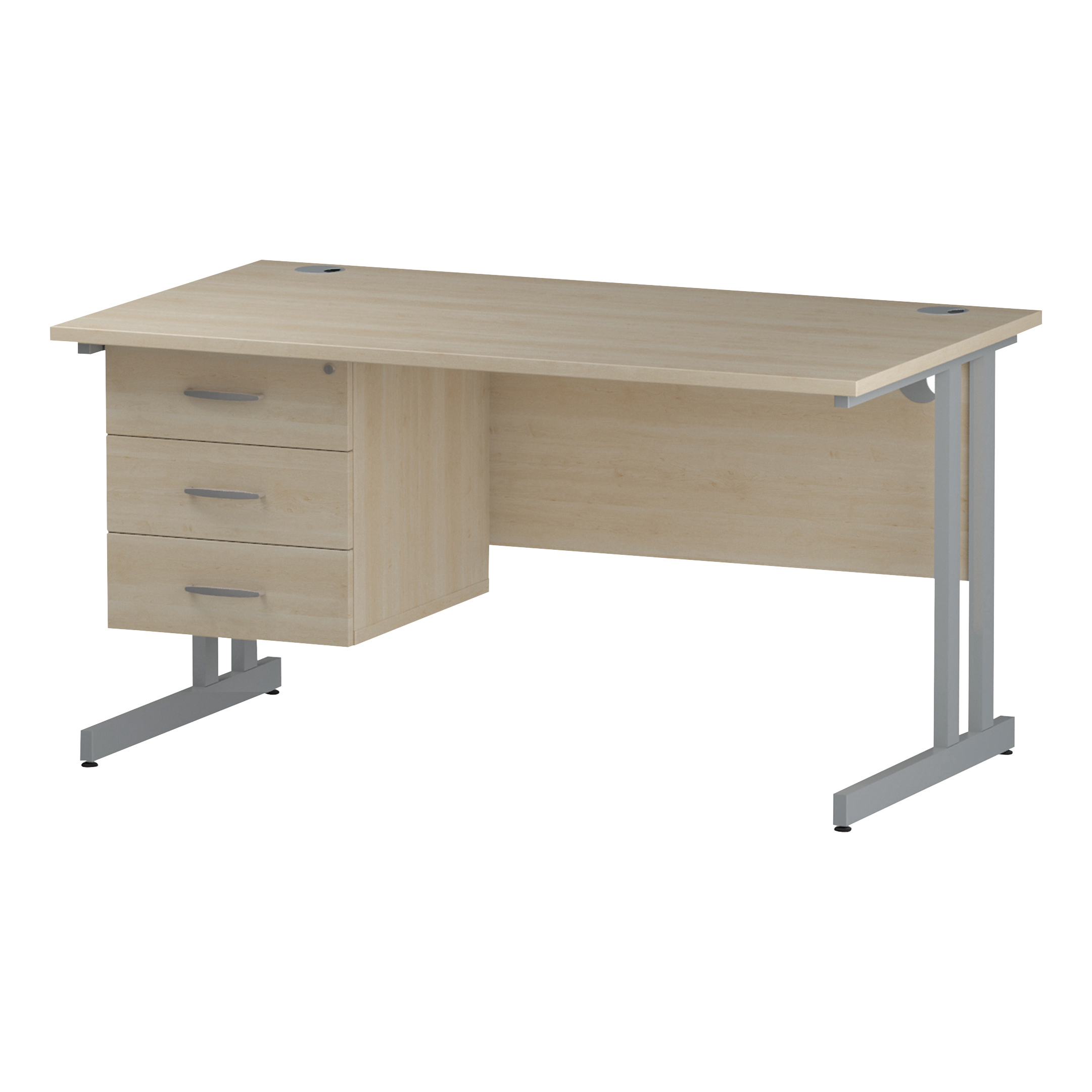 Trexus Rectangular Desk Silver Cantilever Leg 1400x800mm Fixed Pedestal 3 Drawers Maple Ref I002440
