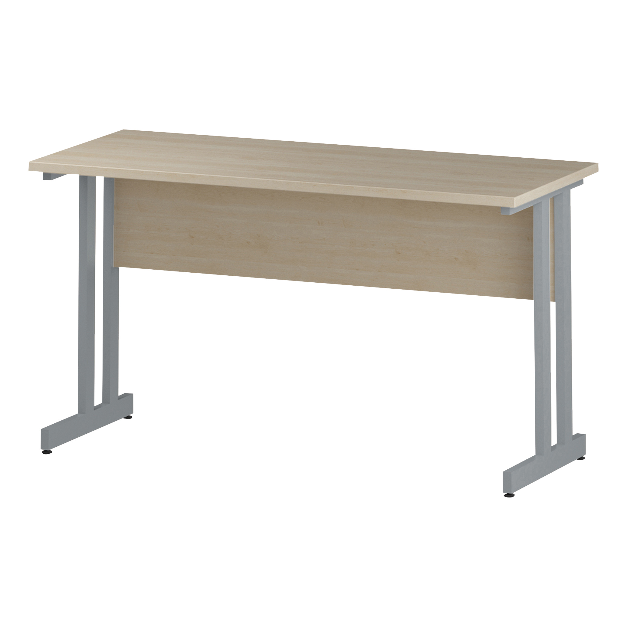 Trexus Rectangular Slim Desk Silver Cantilever Leg 1400x600mm Maple Ref I002423
