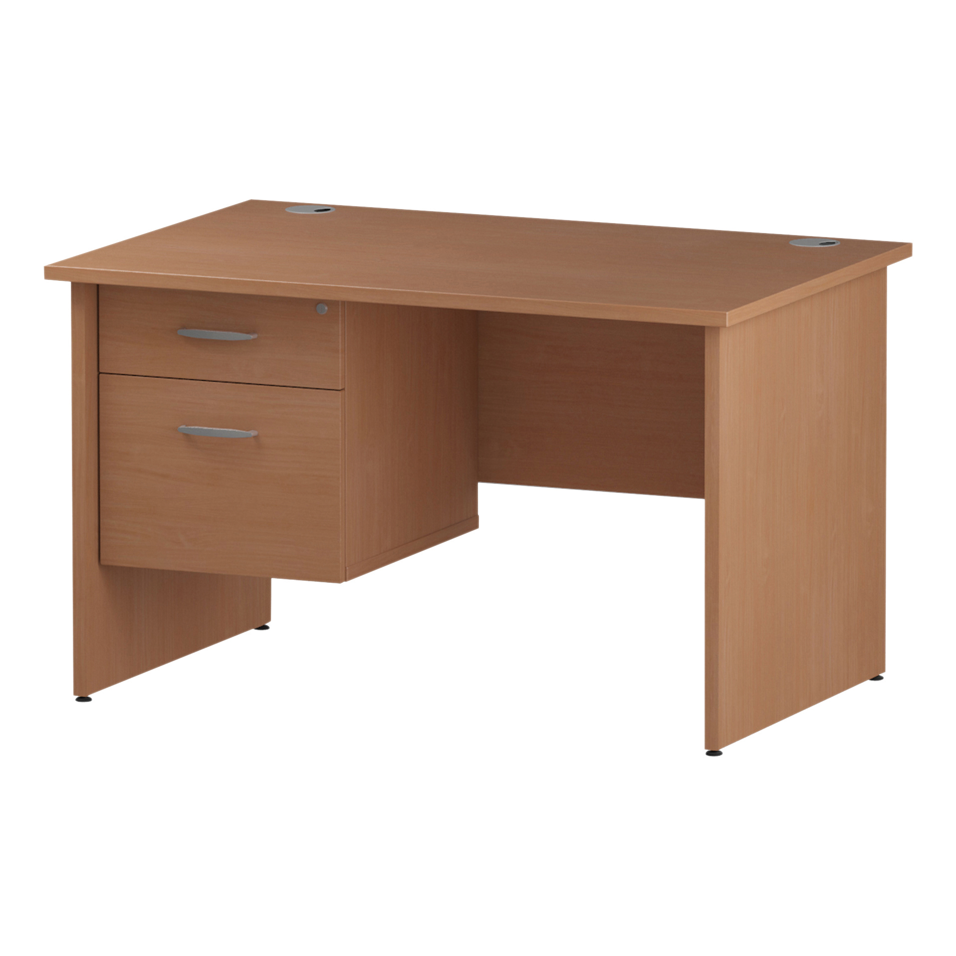 Trexus Rectangular Desk Panel End Leg 1200x800mm Fixed Pedestal 2 Drawers Beech Ref I001733