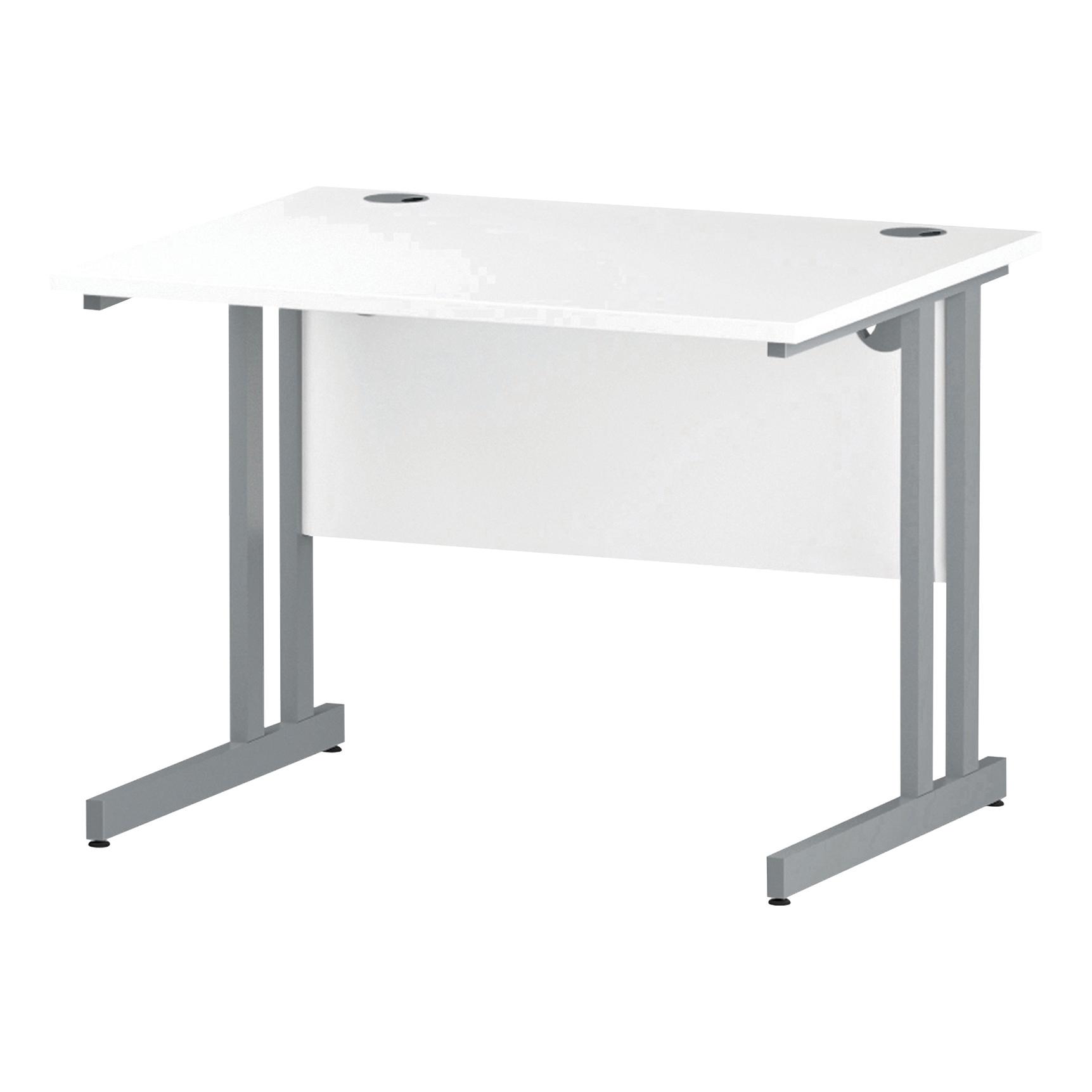 Trexus Rectangular Desk Silver Cantilever Leg 1000x800mm White Ref I000304