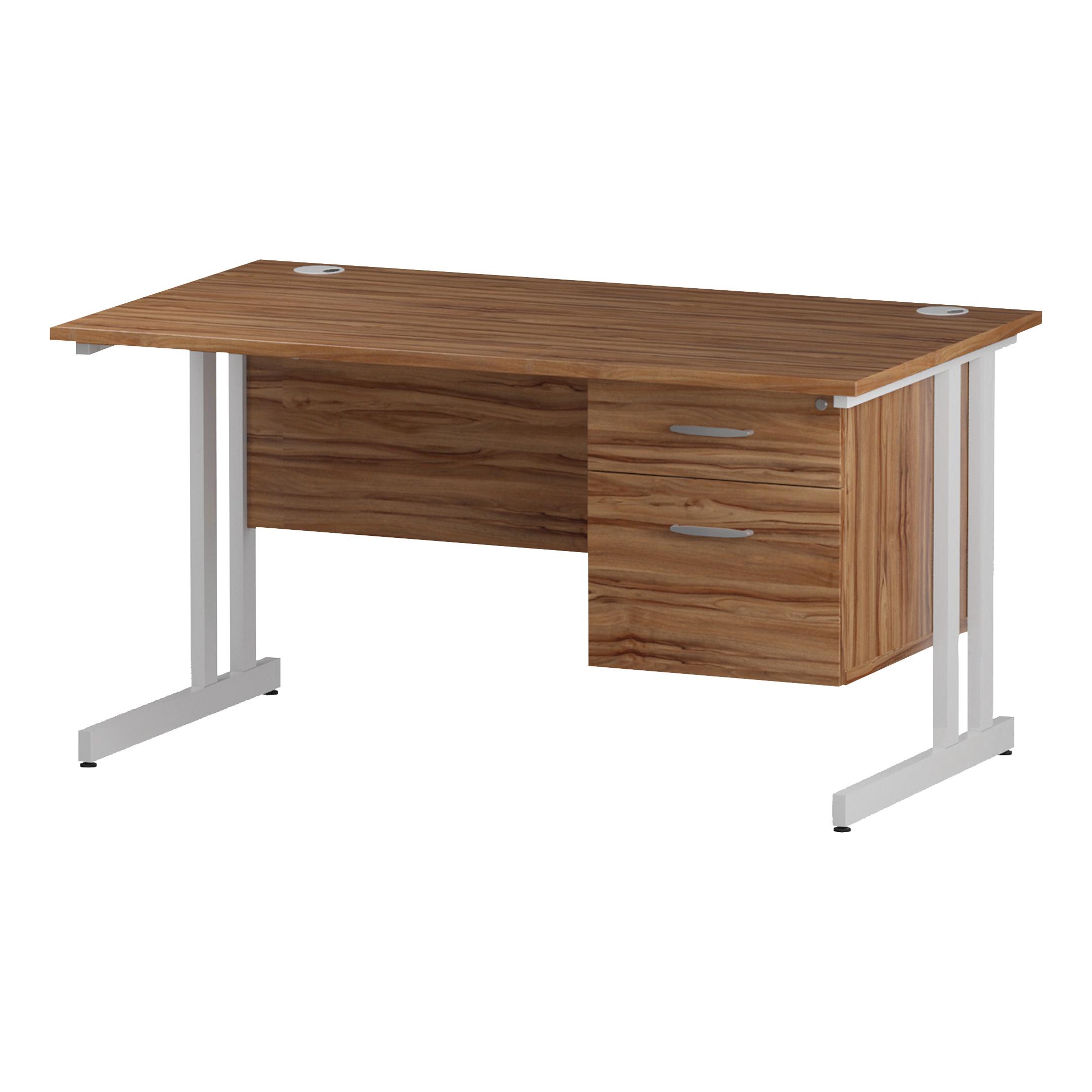 Trexus Rectangular Desk White Cantilever Leg 1400x800mm Fixed Pedestal 2 Drawers Walnut Ref I001924