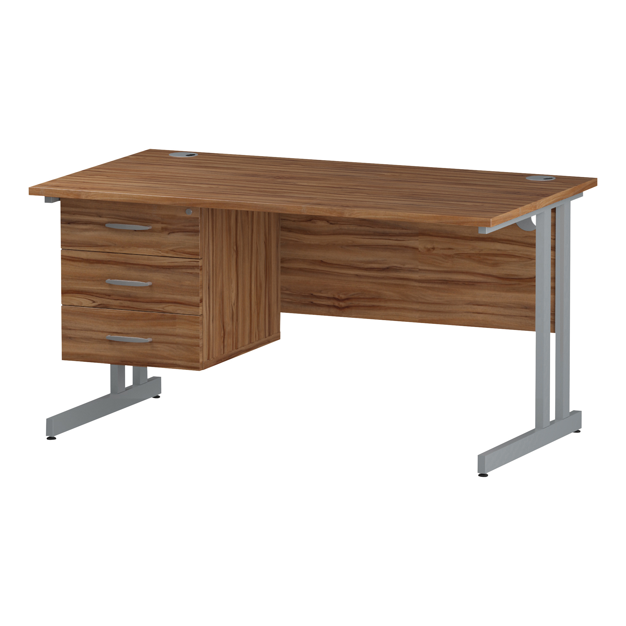 Trexus Rectangular Desk Silver Cantilever Leg 1400x800mm Fixed Pedestal 3 Drawers Walnut Ref I001928