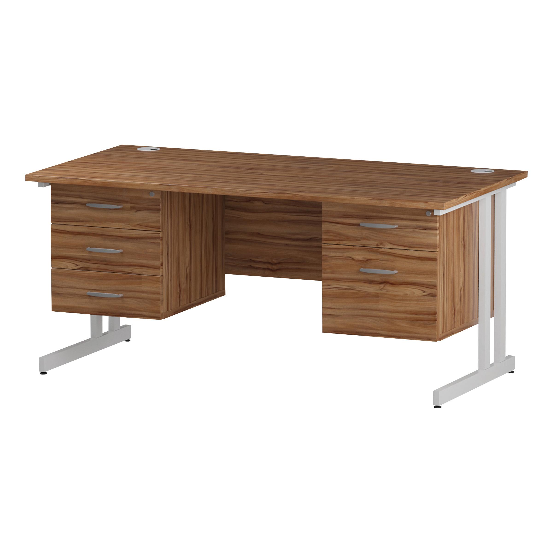 Trexus Rectangular Desk White Cantilever Leg 1600x800mm Double Fixed Ped 2&3 Drawers Walnut Ref I001957