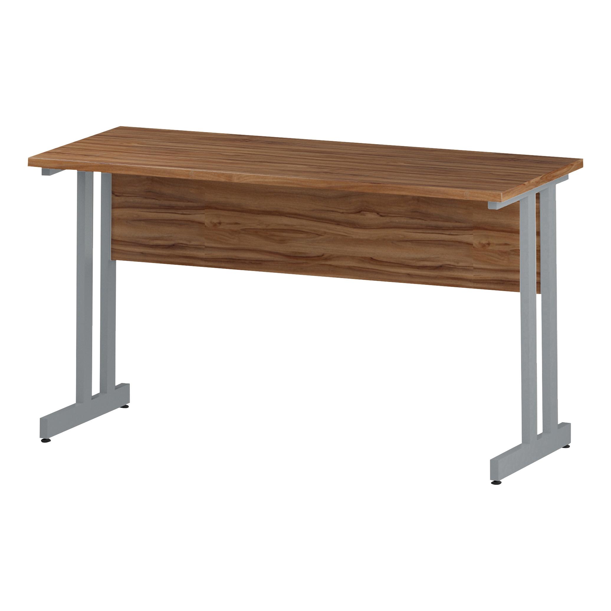 Trexus Rectangular Slim Desk Silver Cantilever Leg 1400x600mm Walnut Ref I001911
