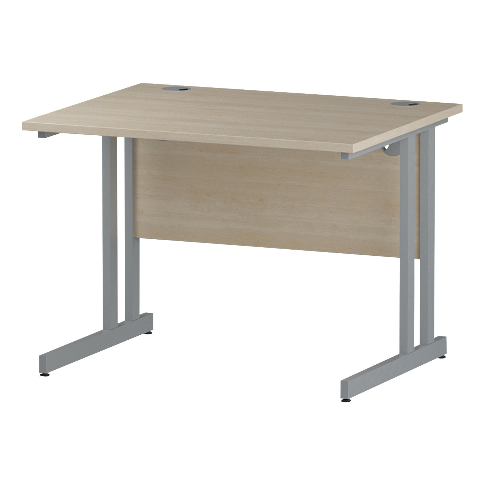 Trexus Rectangular Desk Silver Cantilever Leg 1000x800mm Maple Ref I000348