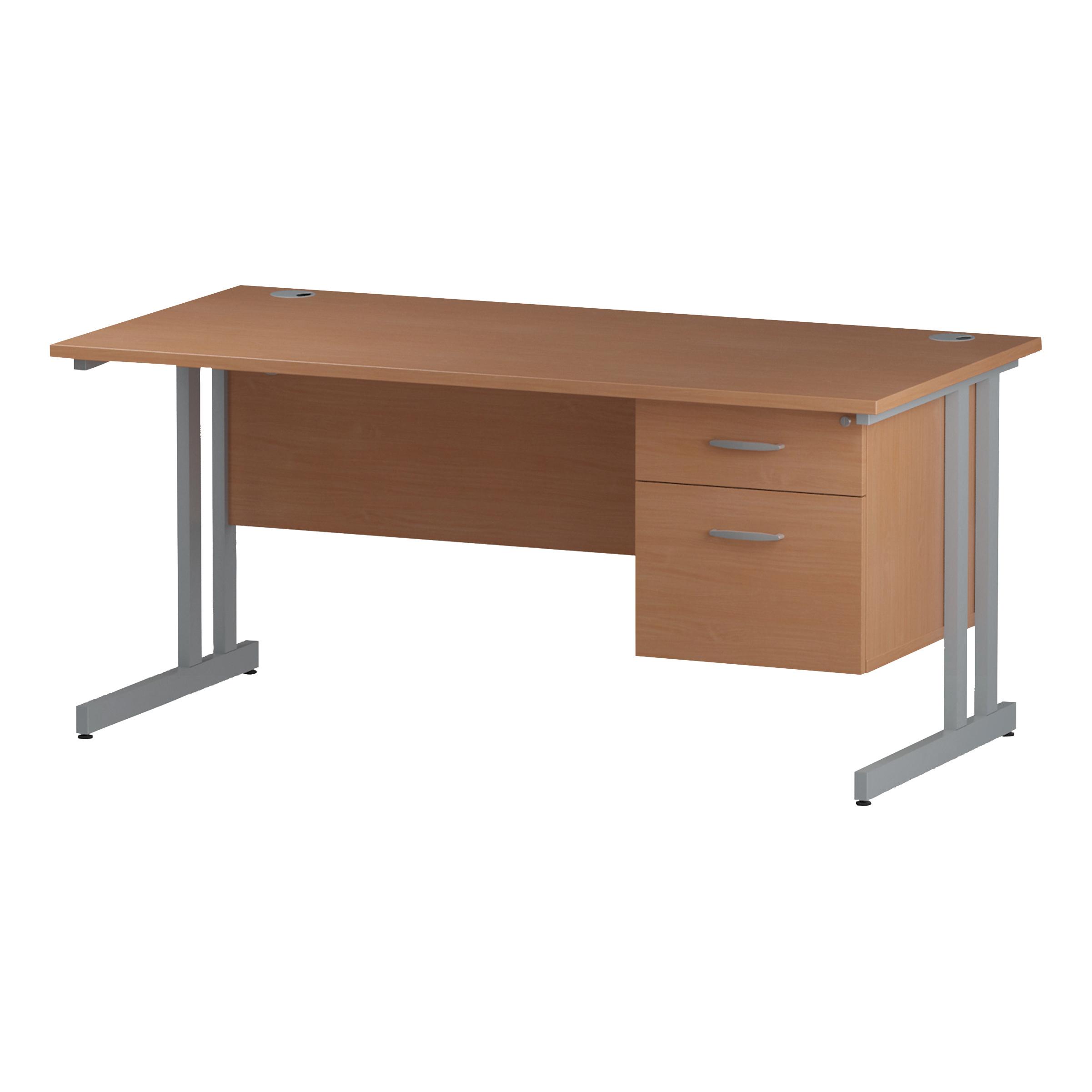 Trexus Rectangular Desk Silver Cantilever Leg 1600x800mm Fixed Pedestal 2 Drawers Beech Ref I001690