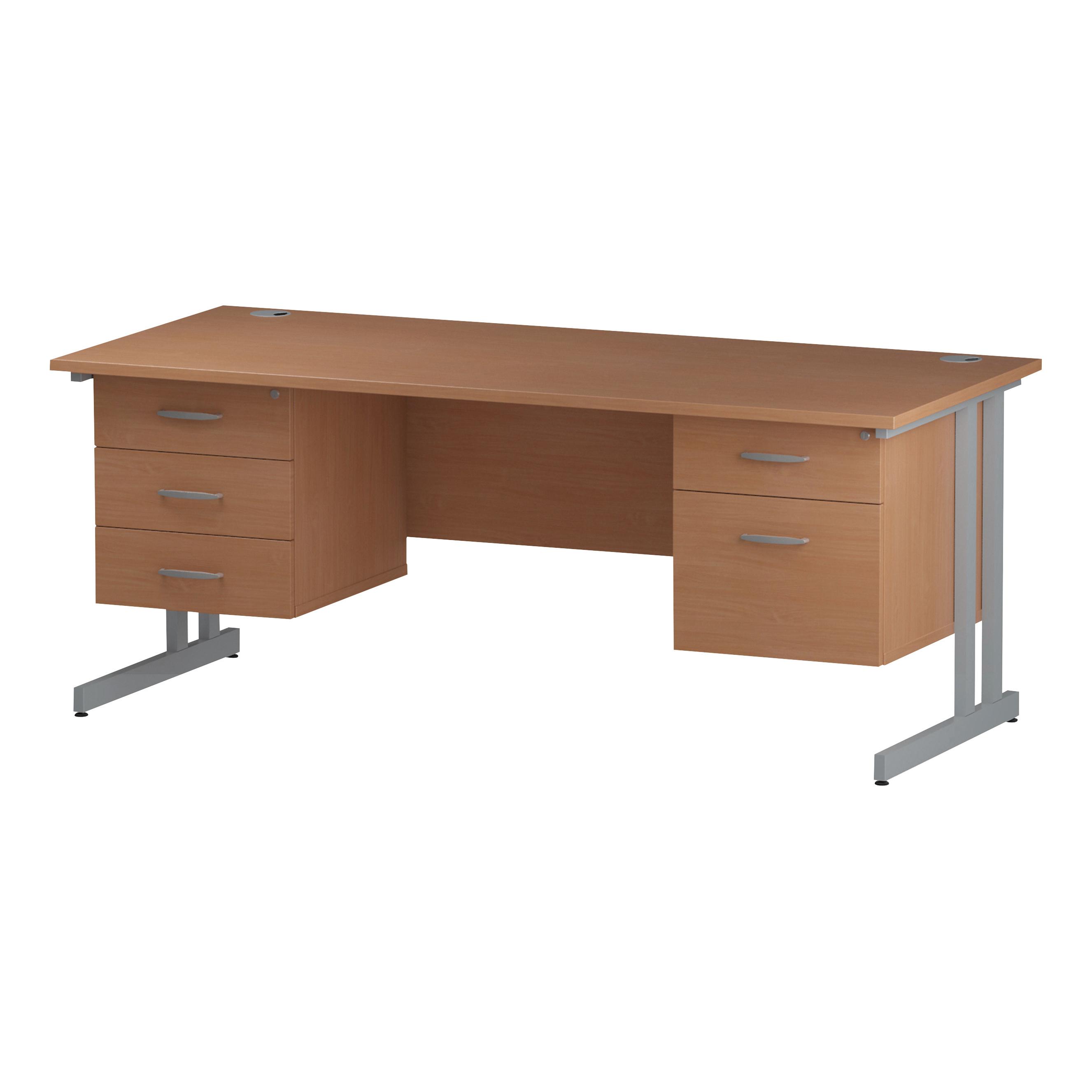 Trexus Rectangular Desk Silver Cantilever Leg 1800x800mm Double Fixed Ped 2&3 Drawers Beech Ref I001723