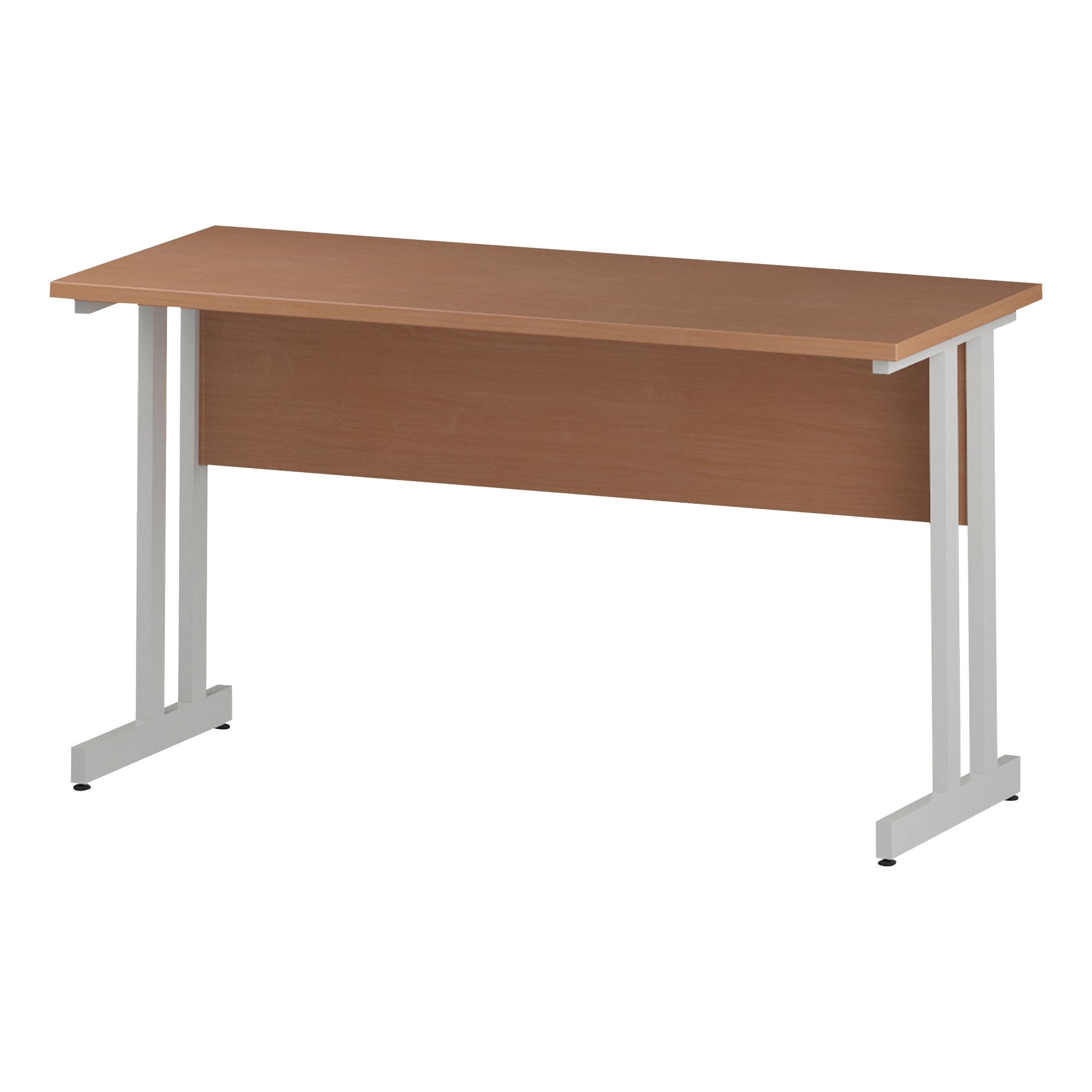 Trexus Rectangular Slim Desk White Cantilever Leg 1400x600mm Beech Ref I001685