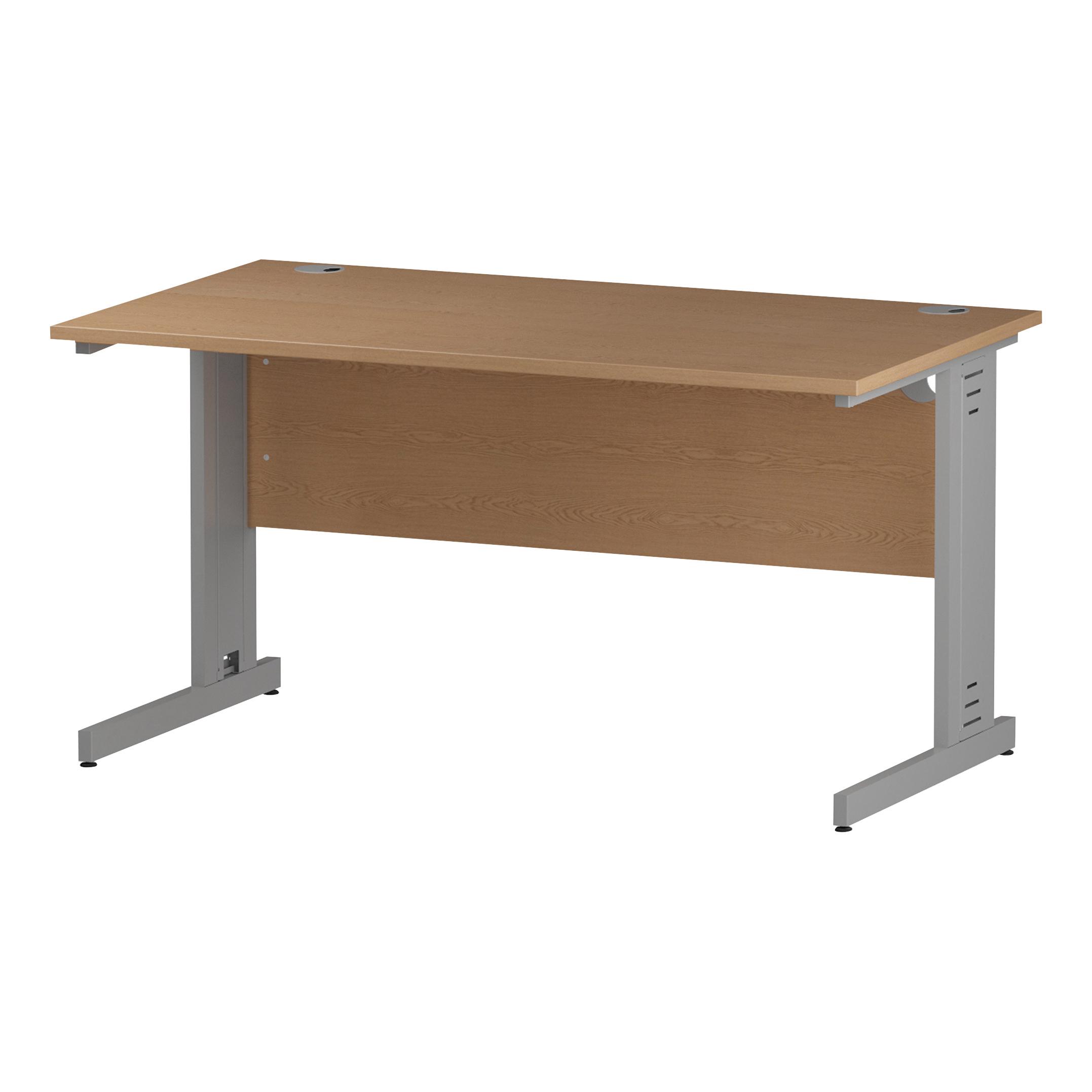 Trexus Rectangular Desk Silver Cable Managed Leg 1400x800mm Oak Ref I000851