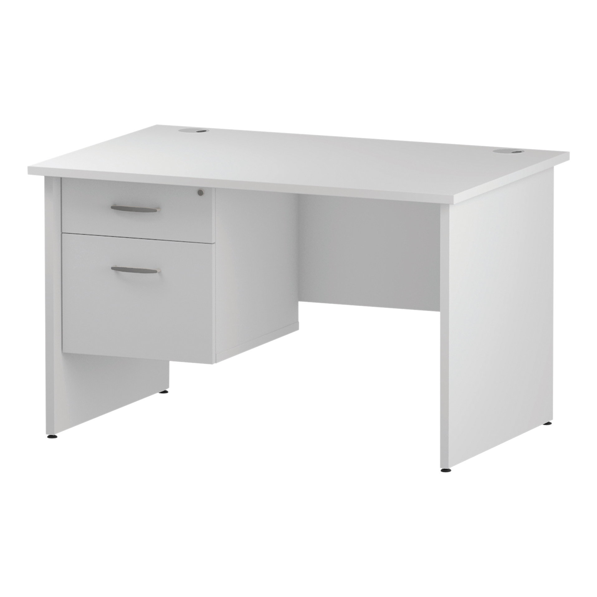 Trexus Rectangular Desk Panel End Leg 1200x800mm Fixed Pedestal 2 Drawers White Ref I002250