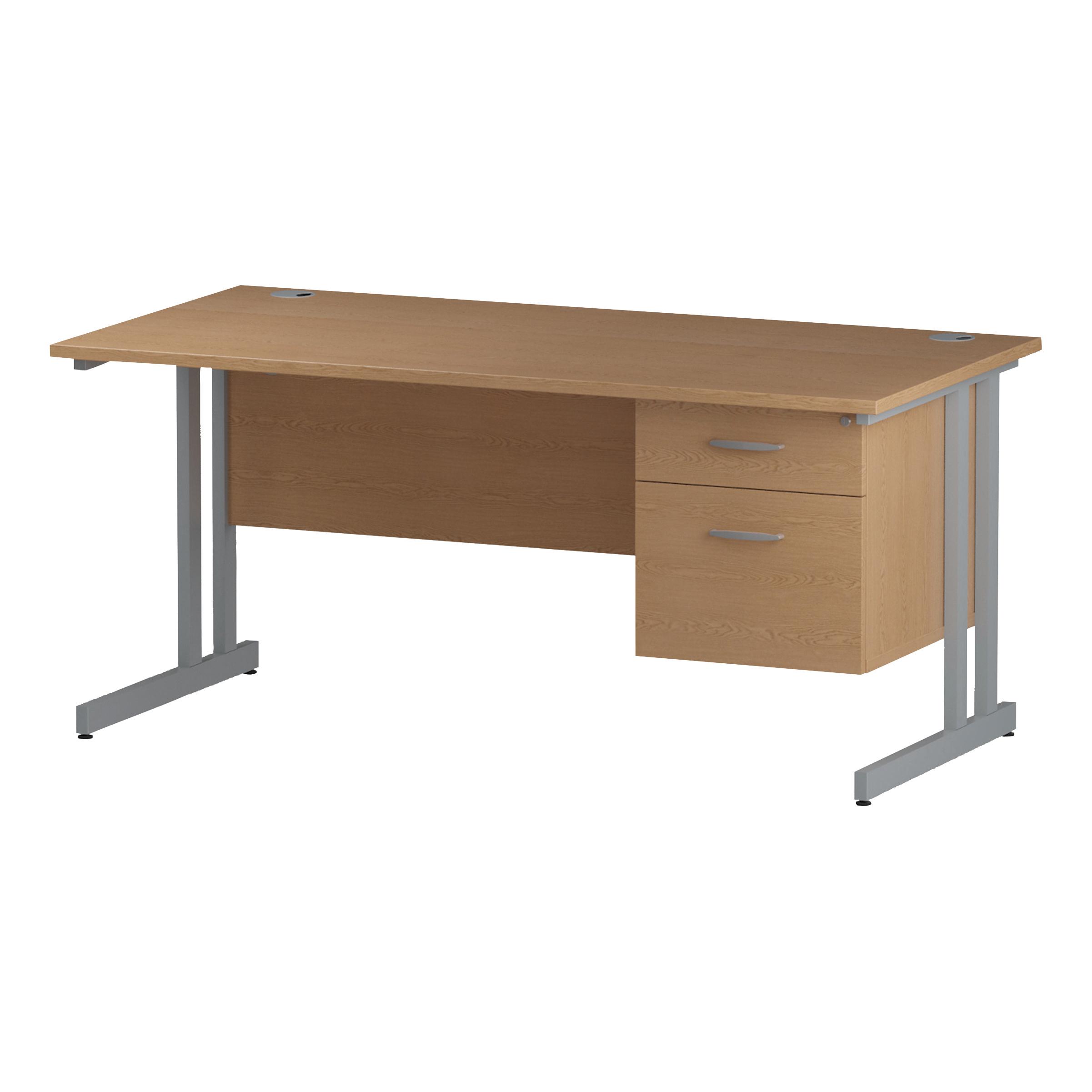 Trexus Rectangular Desk Silver Cantilever Leg 1600x800mm Fixed Pedestal 2 Drawers Oak Ref I002659