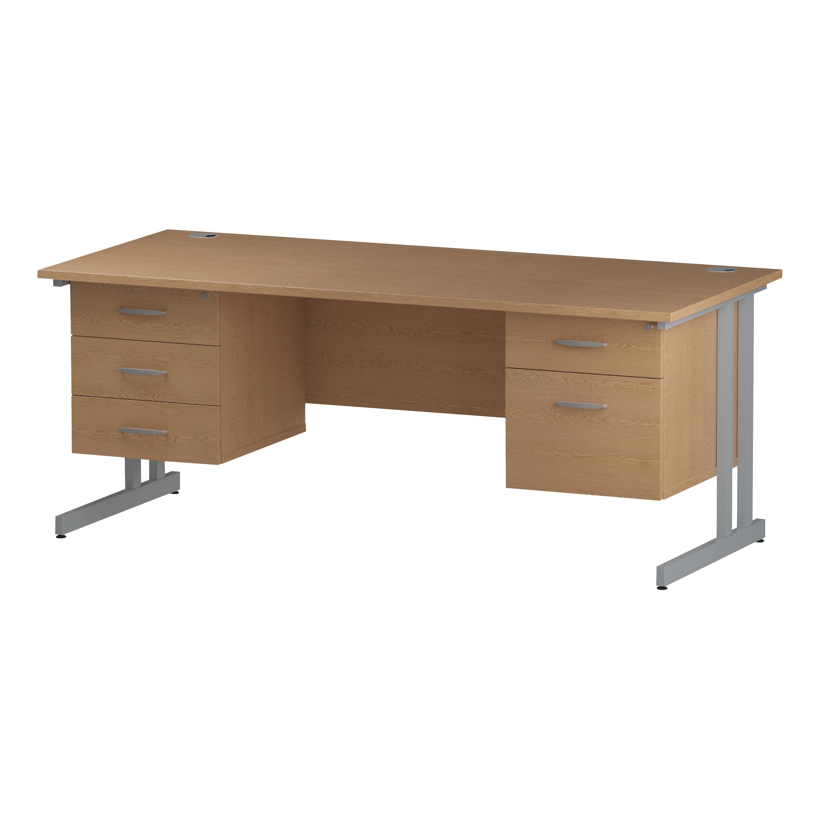 Trexus Rectangular Desk Silver Cantilever Leg 1800x800mm Double Fixed Ped 2&3 Drawers Oak Ref I002692
