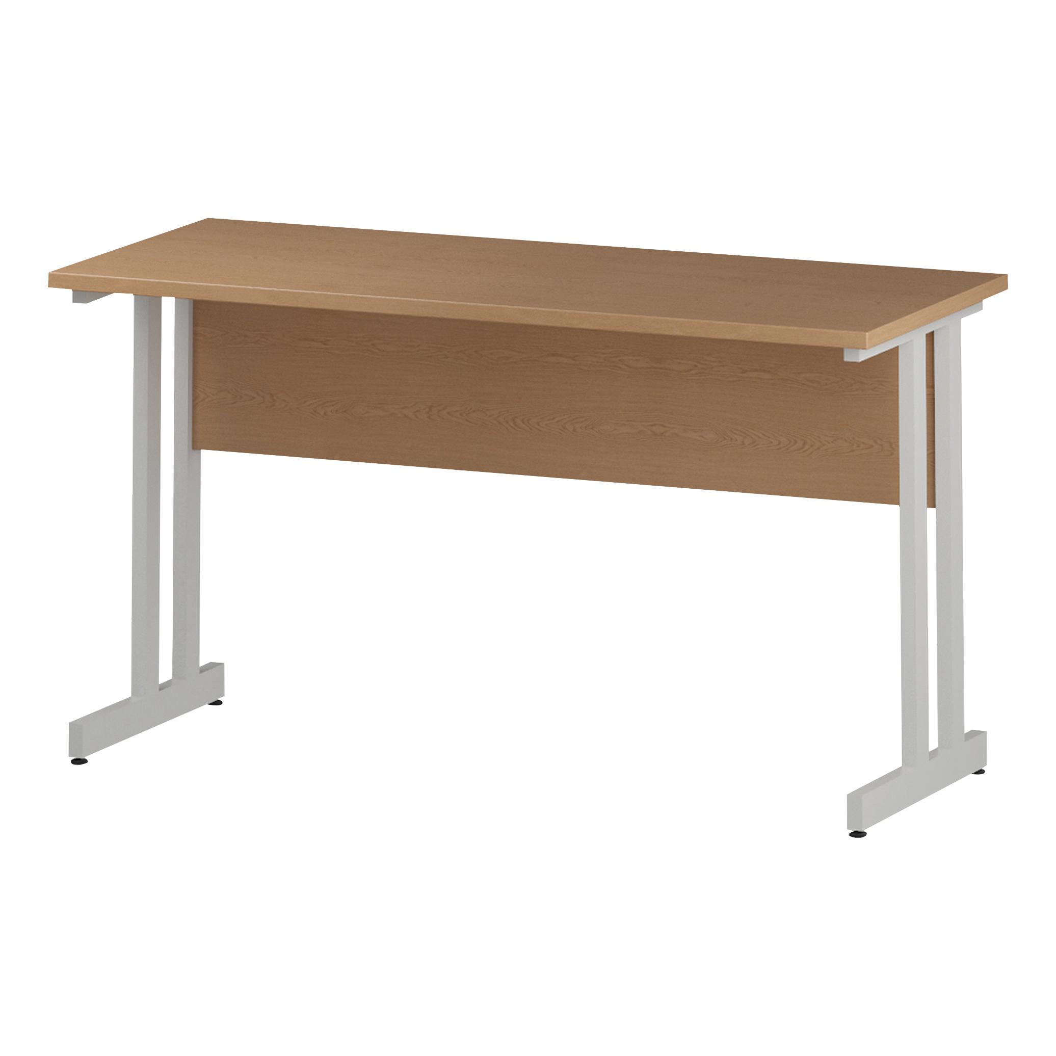 Trexus Rectangular Slim Desk White Cantilever Leg 1400x600mm Oak Ref I002654