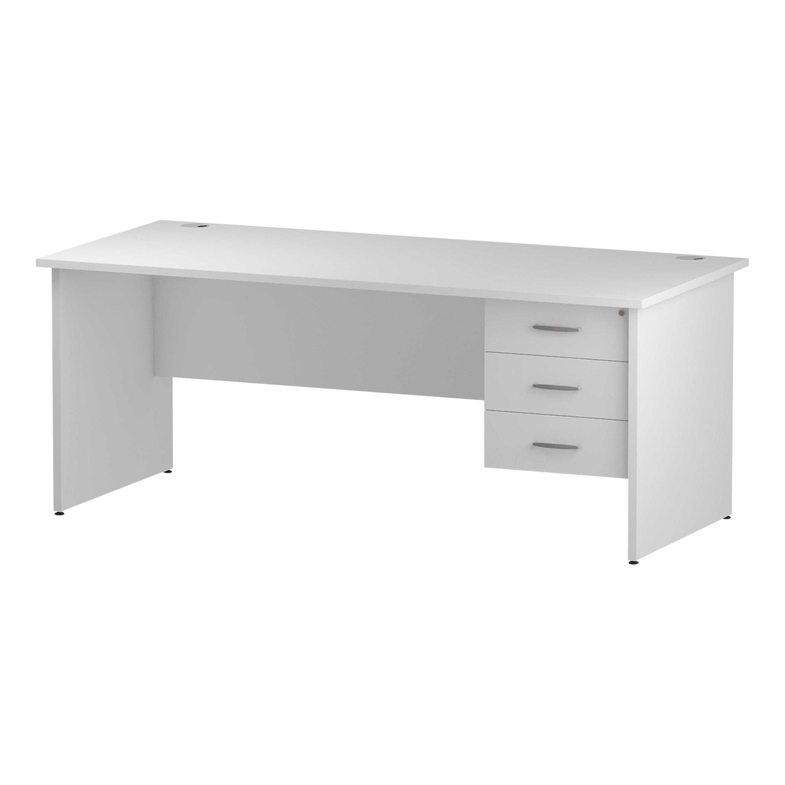 Trexus Rectangular Desk Panel End Leg 1800x800mm Fixed Pedestal 3 Drawers White Ref I002257