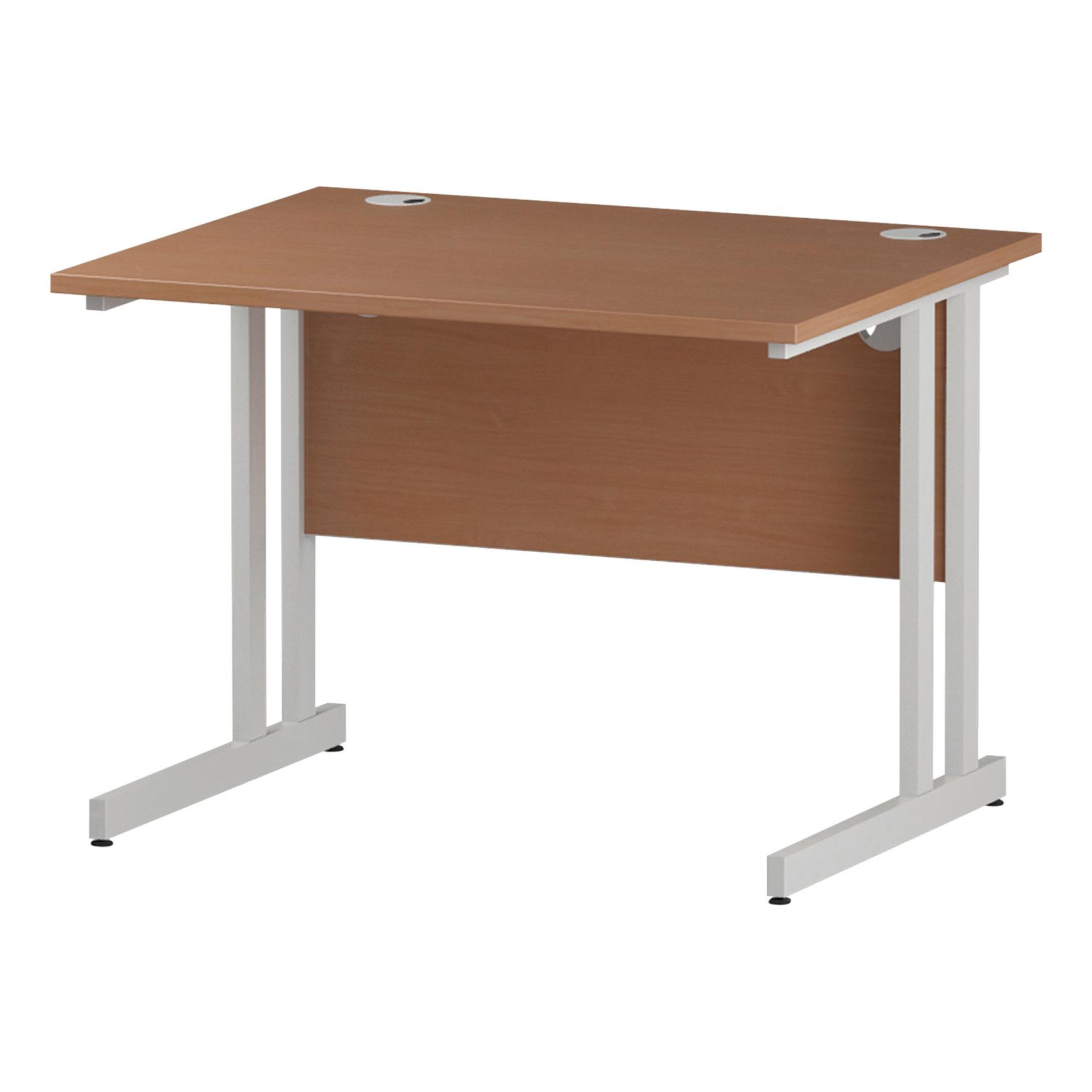 Trexus Rectangular Desk White Cantilever Leg 1000x800mm Beech Ref I001673