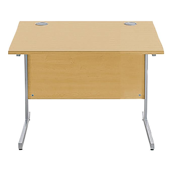 Sonix Rectangular Desk Silver Cantilever Leg 800x800mm Natural Oak Ref w9683o