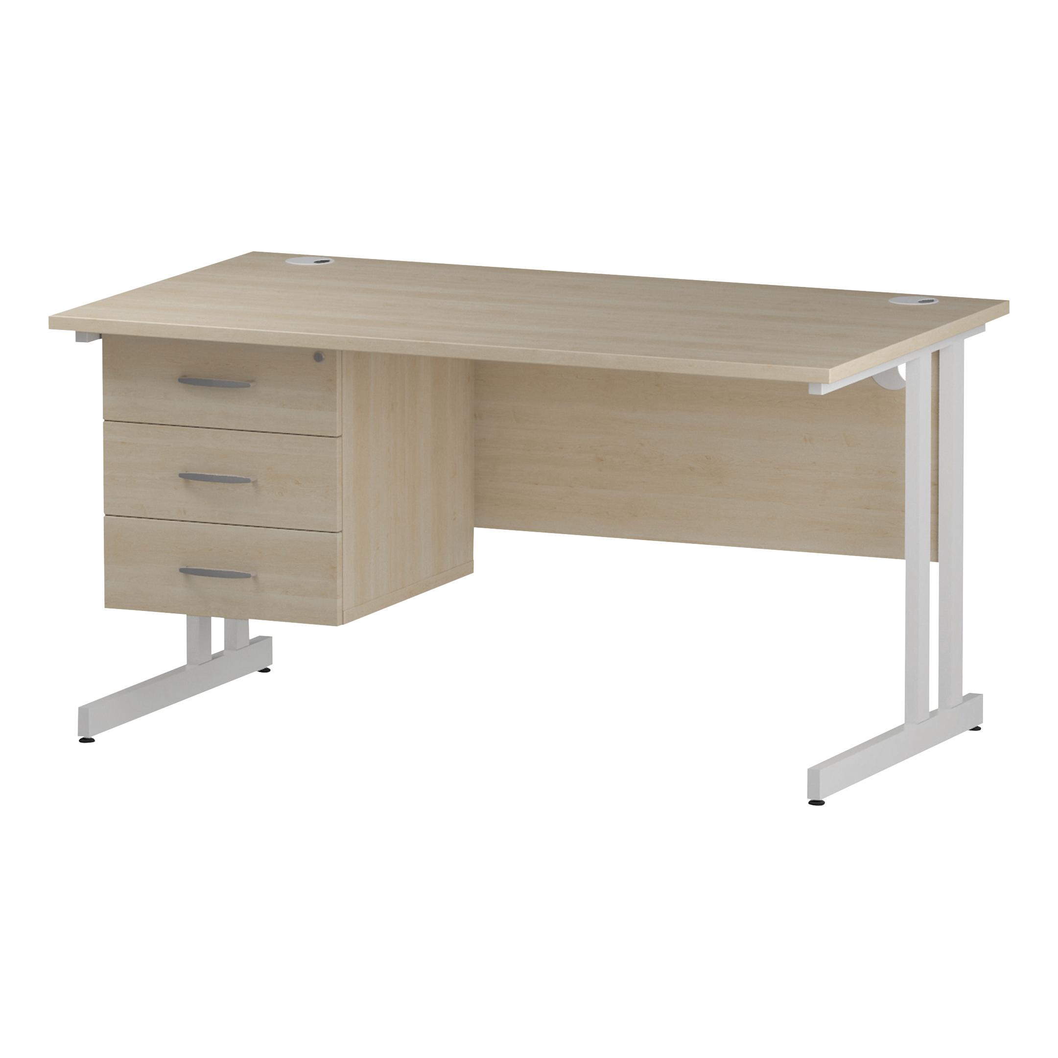 Trexus Rectangular Desk White Cantilever Leg 1400x800mm Fixed Pedestal 3 Drawers Maple Ref I002444