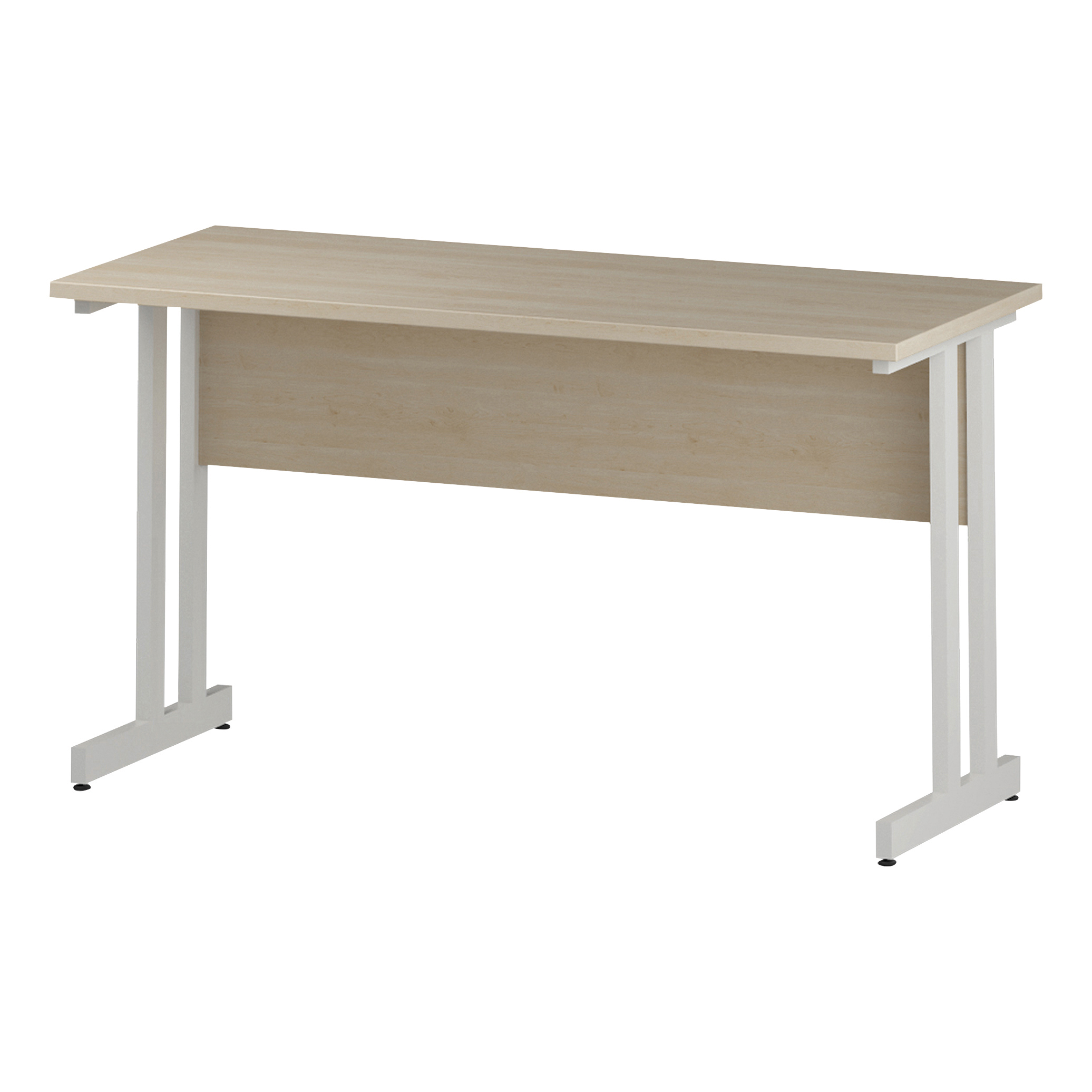 Trexus Rectangular Slim Desk White Cantilever Leg 1400x600mm Maple Ref I002428
