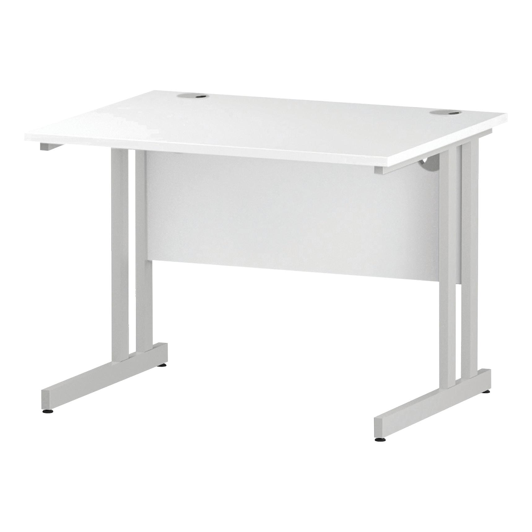 Trexus Rectangular Desk White Cantilever Leg 1000x800mm White Ref I002190