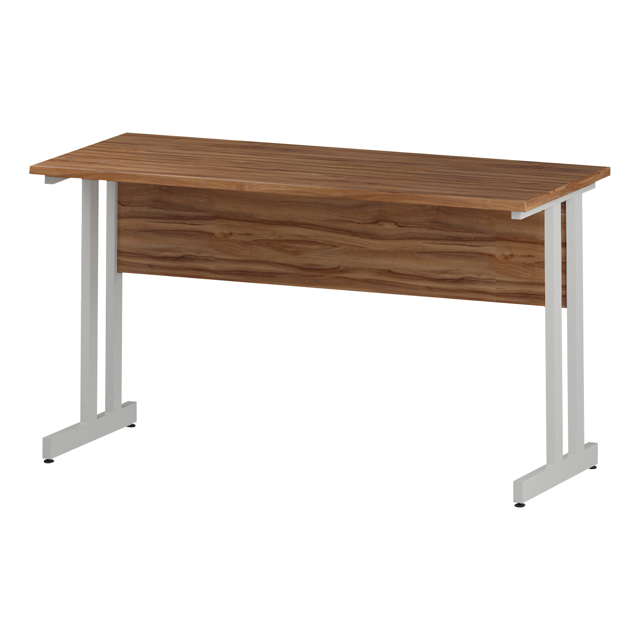 Trexus Rectangular Slim Desk White Cantilever Leg 1400x600mm Walnut Ref I001916