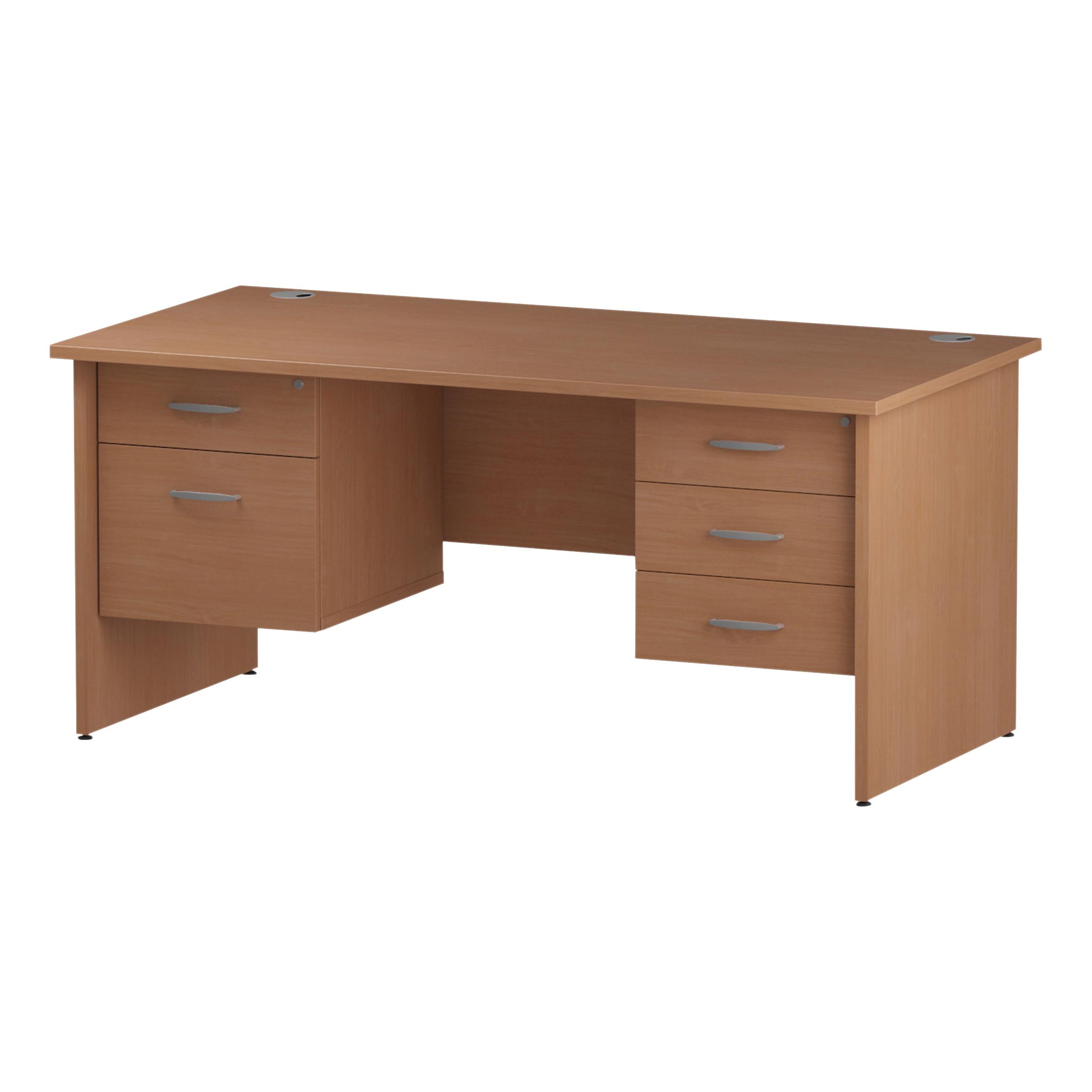 Trexus Rectangular Desk Panel End Leg 1600x800mm Double Fixed Pedestal 2&3 Drawers Beech Ref I001751