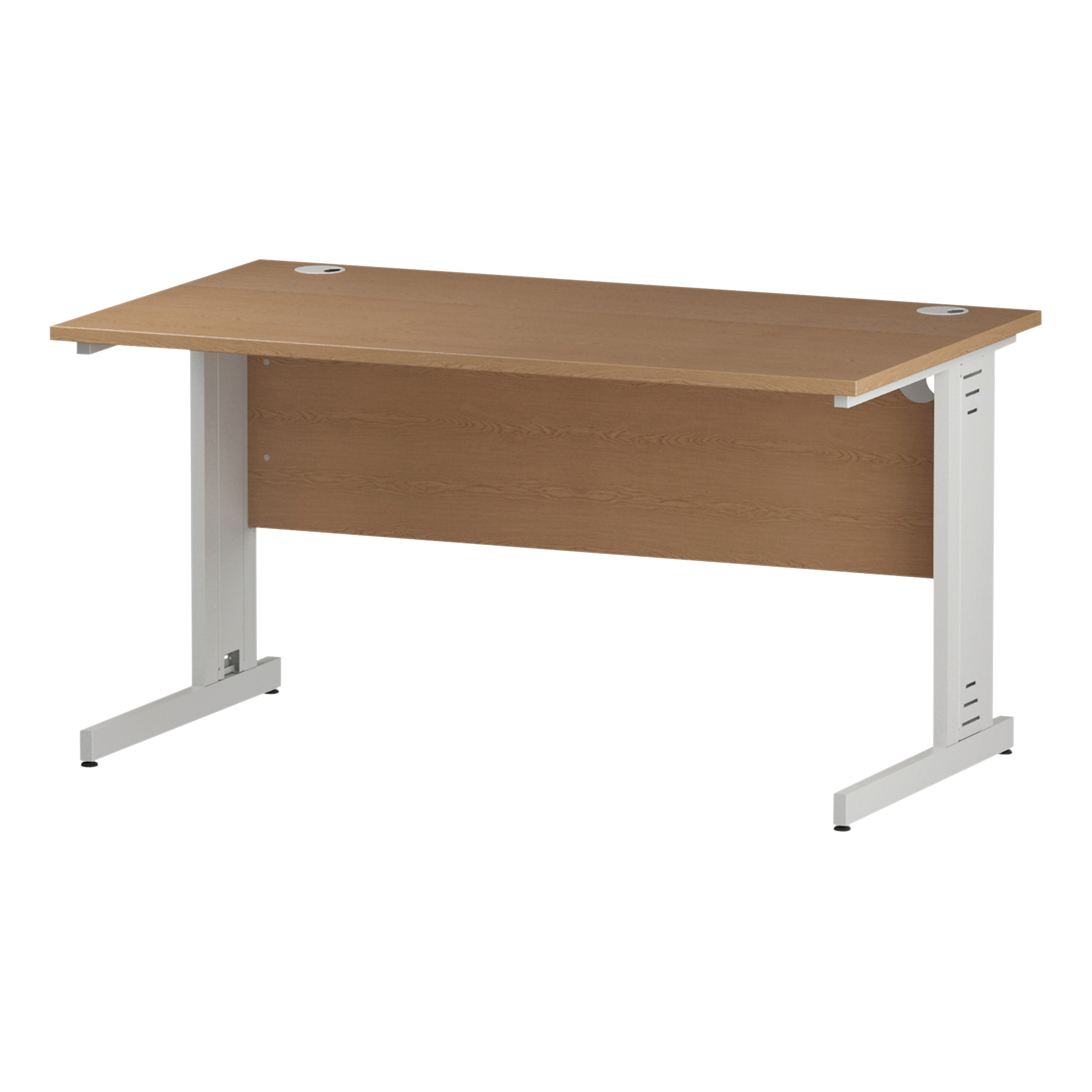 Trexus Rectangular Desk White Cable Managed Leg 1400x800mm Oak Ref I002724