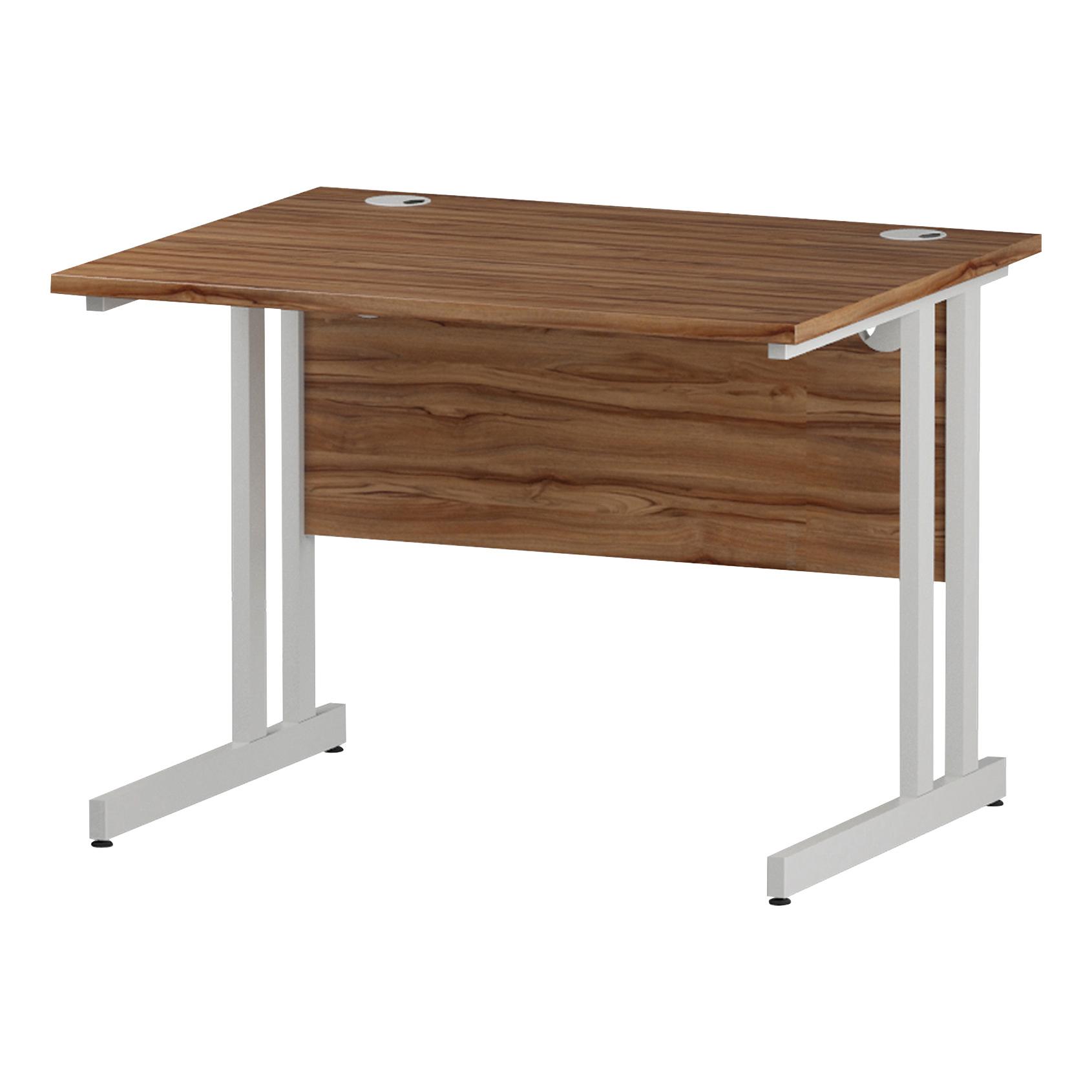 Trexus Rectangular Desk White Cantilever Leg 1000x800mm Walnut Ref I001904