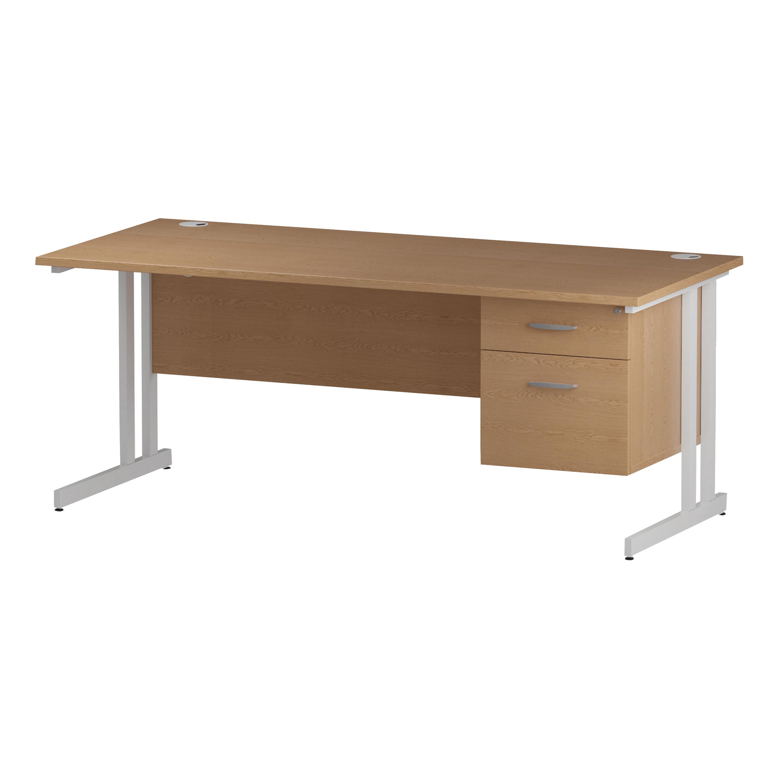 Trexus Rectangular Desk White Cantilever Leg 1600x800mm Fixed Pedestal 2 Drawers Oak Ref I002663
