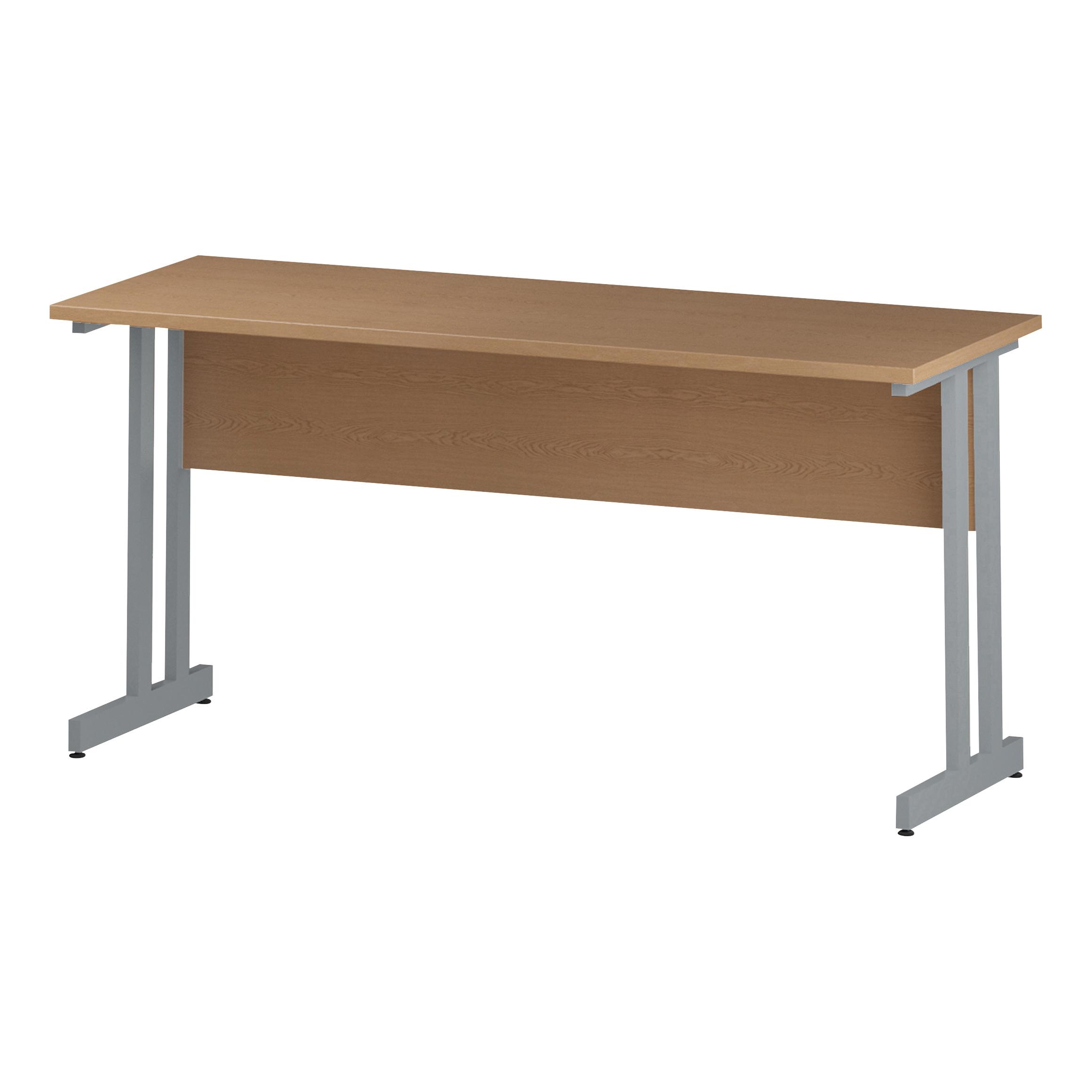 Trexus Rectangular Slim Desk Silver Cantilever Leg 1600x600mm Oak Ref I002650