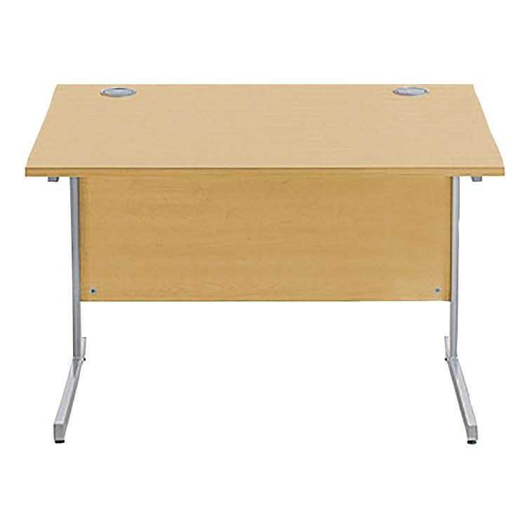 Sonix Rectangular Desk Silver Cantilever Leg 1000x800mm Natural Oak Ref w9690o