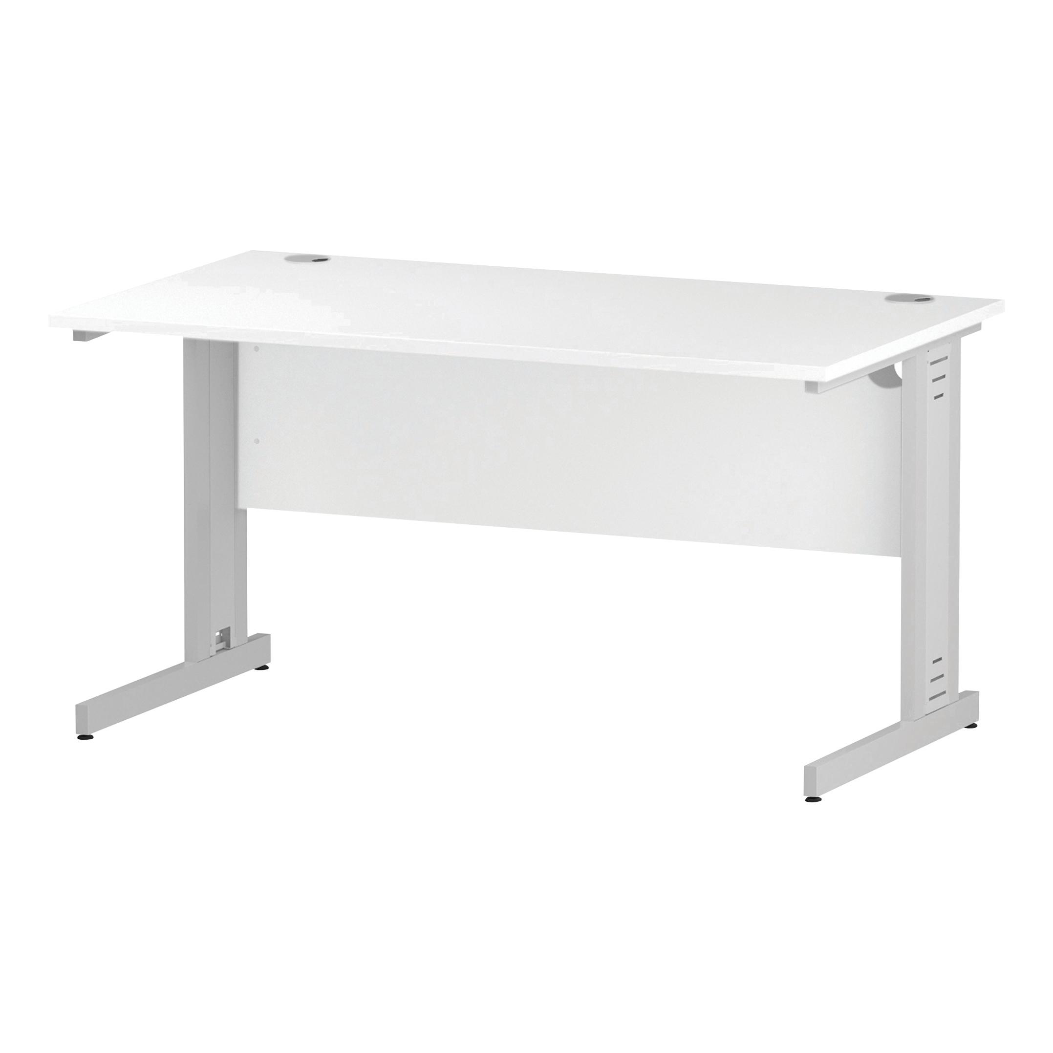 Trexus Rectangular Desk White Cable Managed Leg 1400x800mm White Ref I002272