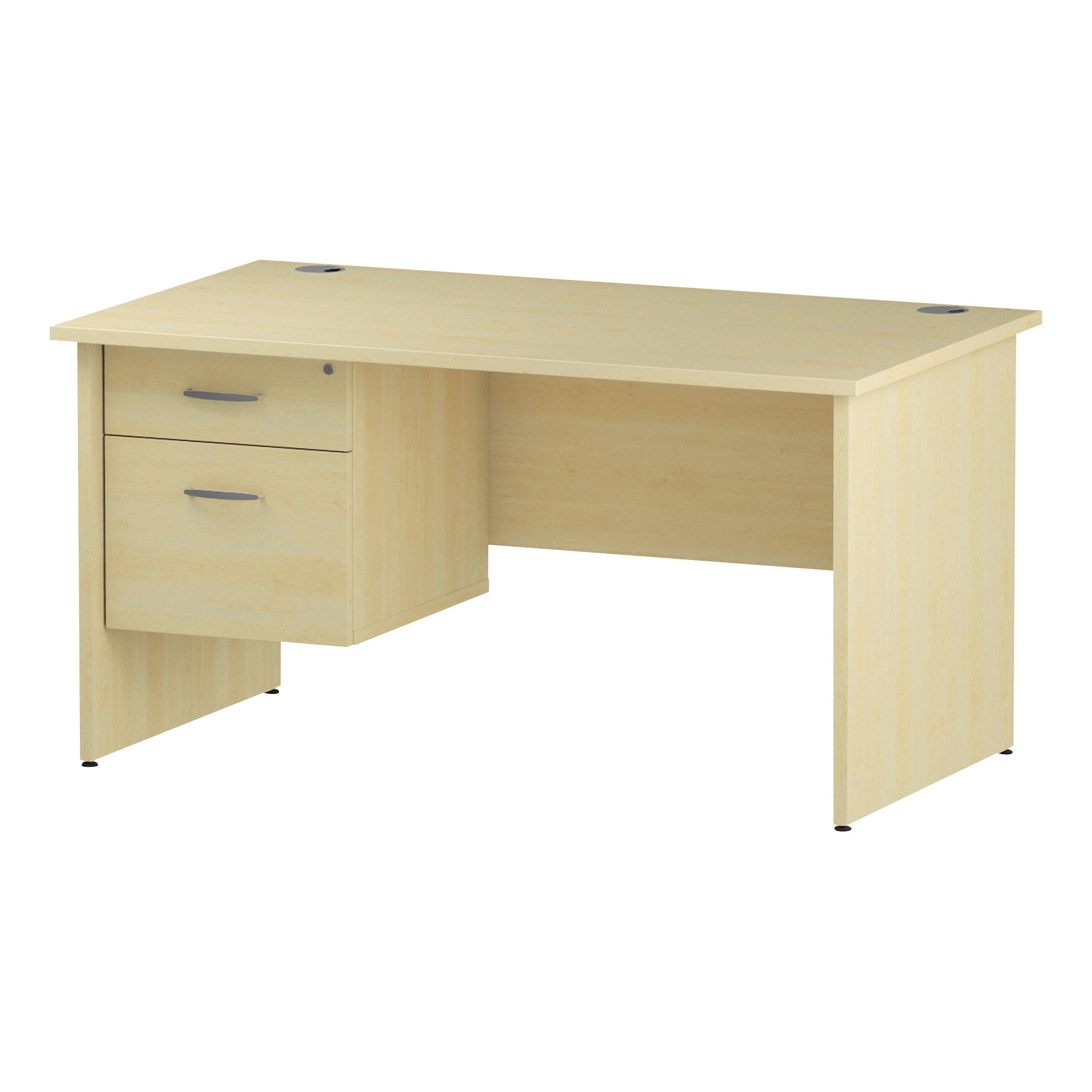 Trexus Rectangular Desk Panel End Leg 1400x800mm Fixed Pedestal 2 Drawers Maple Ref I002477