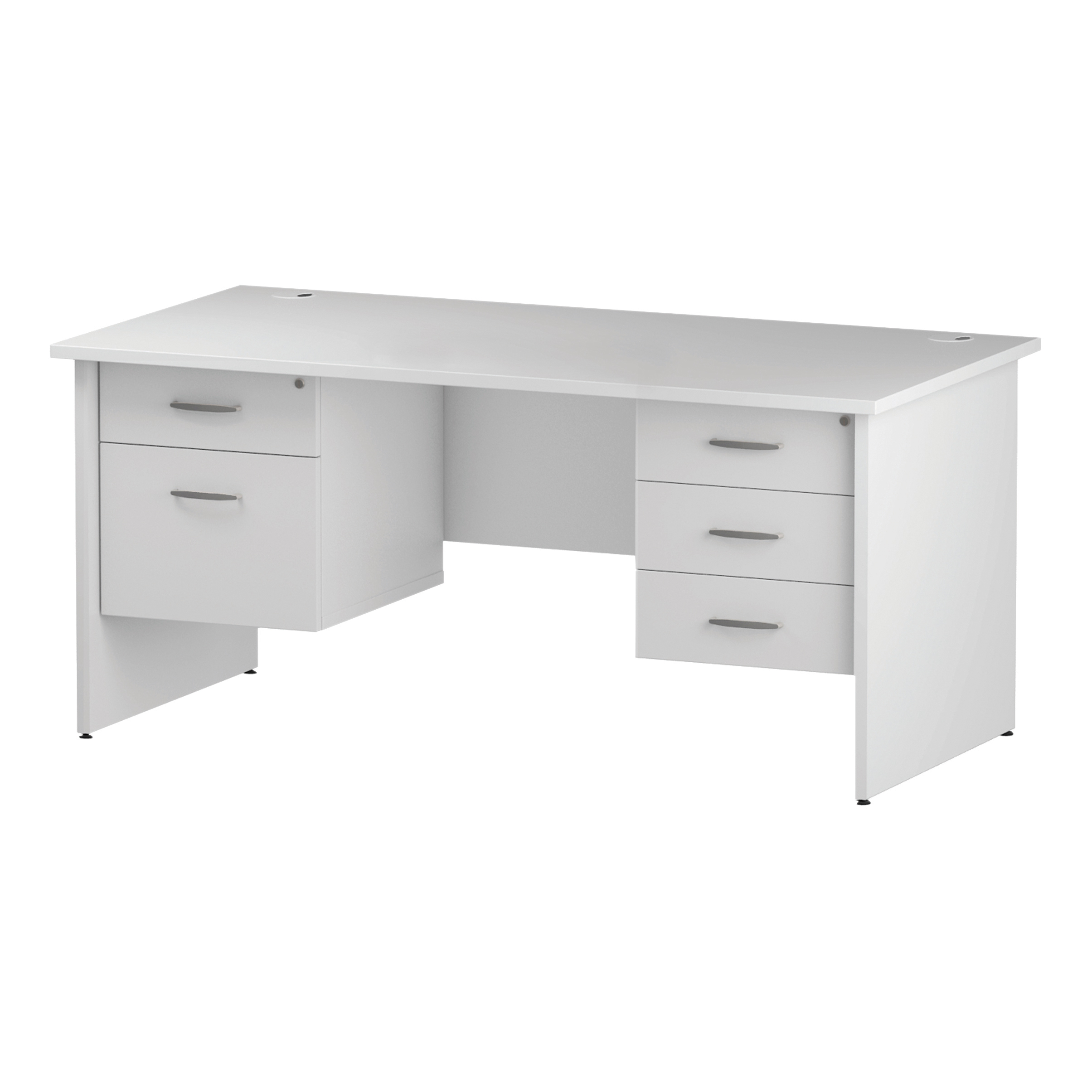 Trexus Rectangular Desk Panel End Leg 1600x800mm Double Fixed Pedestal 2&3 Drawers White Ref I002268